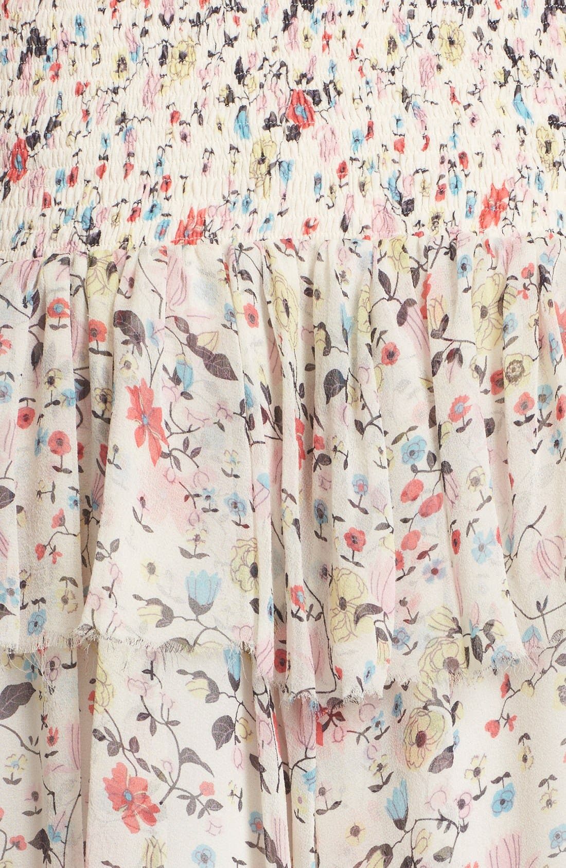 Alternate Image 5  - Rebecca Taylor 'Tapestry Grid' Floral Print Silk Skirt