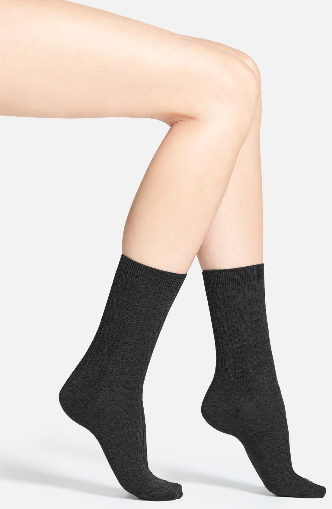'Cable II' Crew Socks,                         Main,                         color, Black