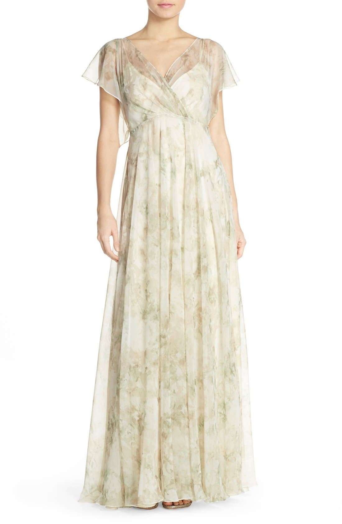 Alternate Image 1 Selected - Jenny Yoo 'Cassie' Print Flutter Sleeve Chiffon Maxi Dress