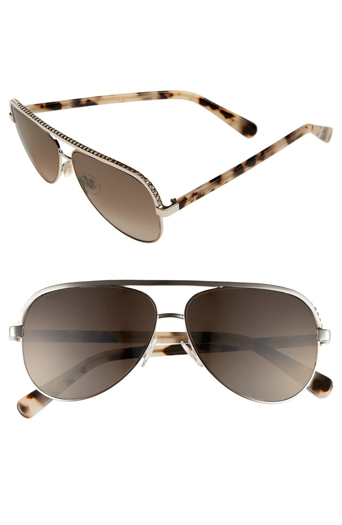 Main Image - Jimmy Choo 'Linas' 59mm Aviator Sunglasses