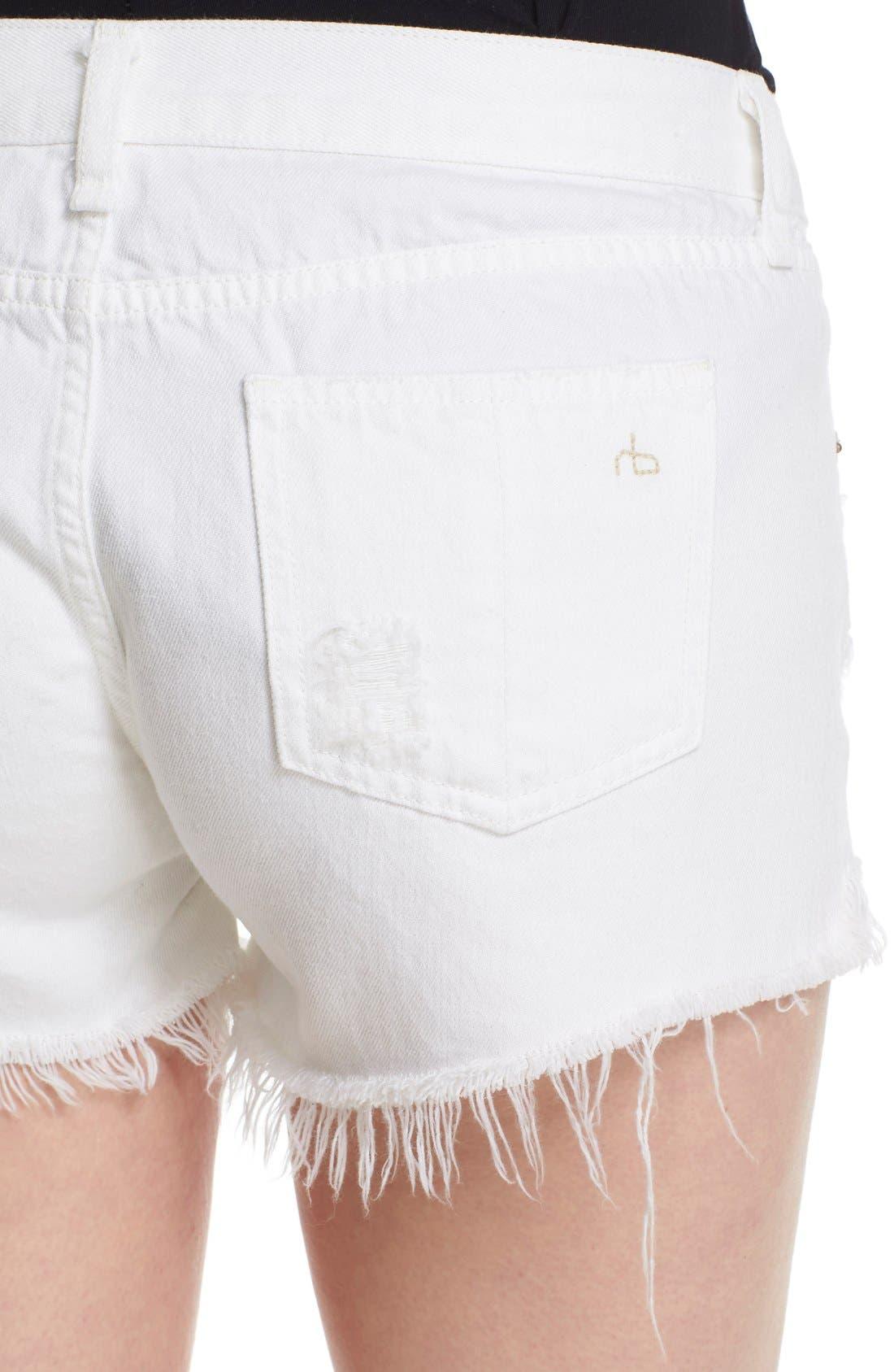 Ripped Cutoff Denim Shorts,                             Alternate thumbnail 4, color,                             White Marin