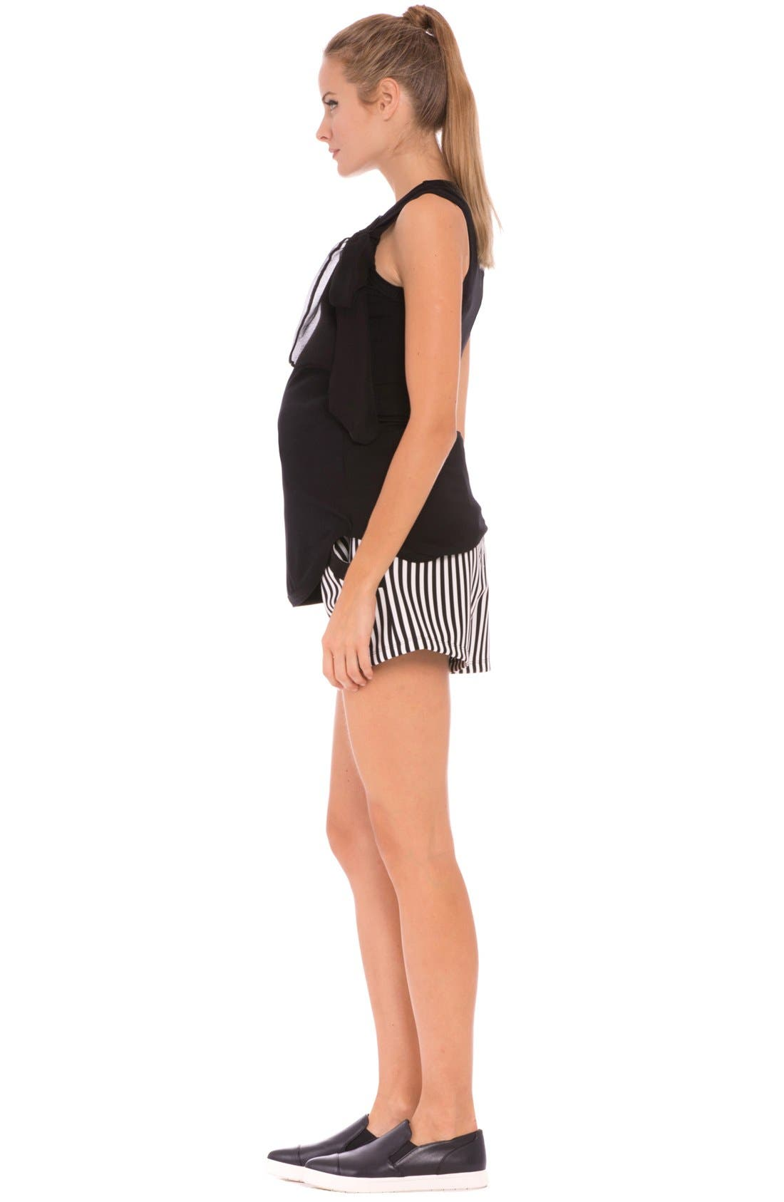 'Megan' Stripe Maternity Shorts,                             Alternate thumbnail 4, color,                             Black