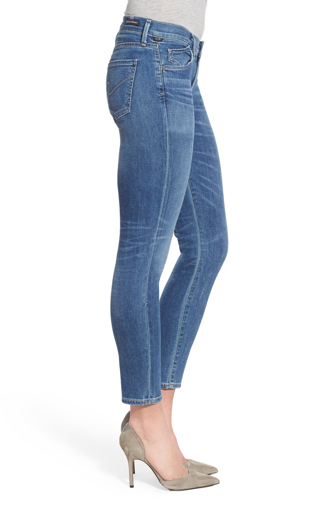 Ankle Skinny Jeans,                             Alternate thumbnail 3, color,                             Harbor