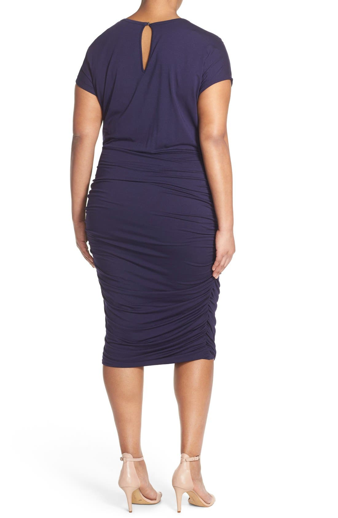 Side Ruched Jersey Midi Dress,                             Alternate thumbnail 2, color,                             Evening Navy