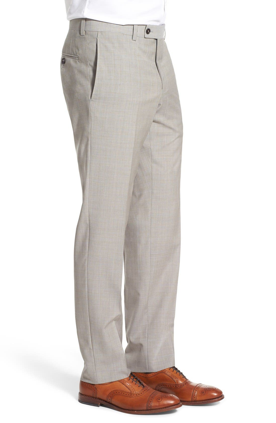 'Jefferson' Flat Front Solid Wool Trousers,                             Alternate thumbnail 4, color,                             Tan