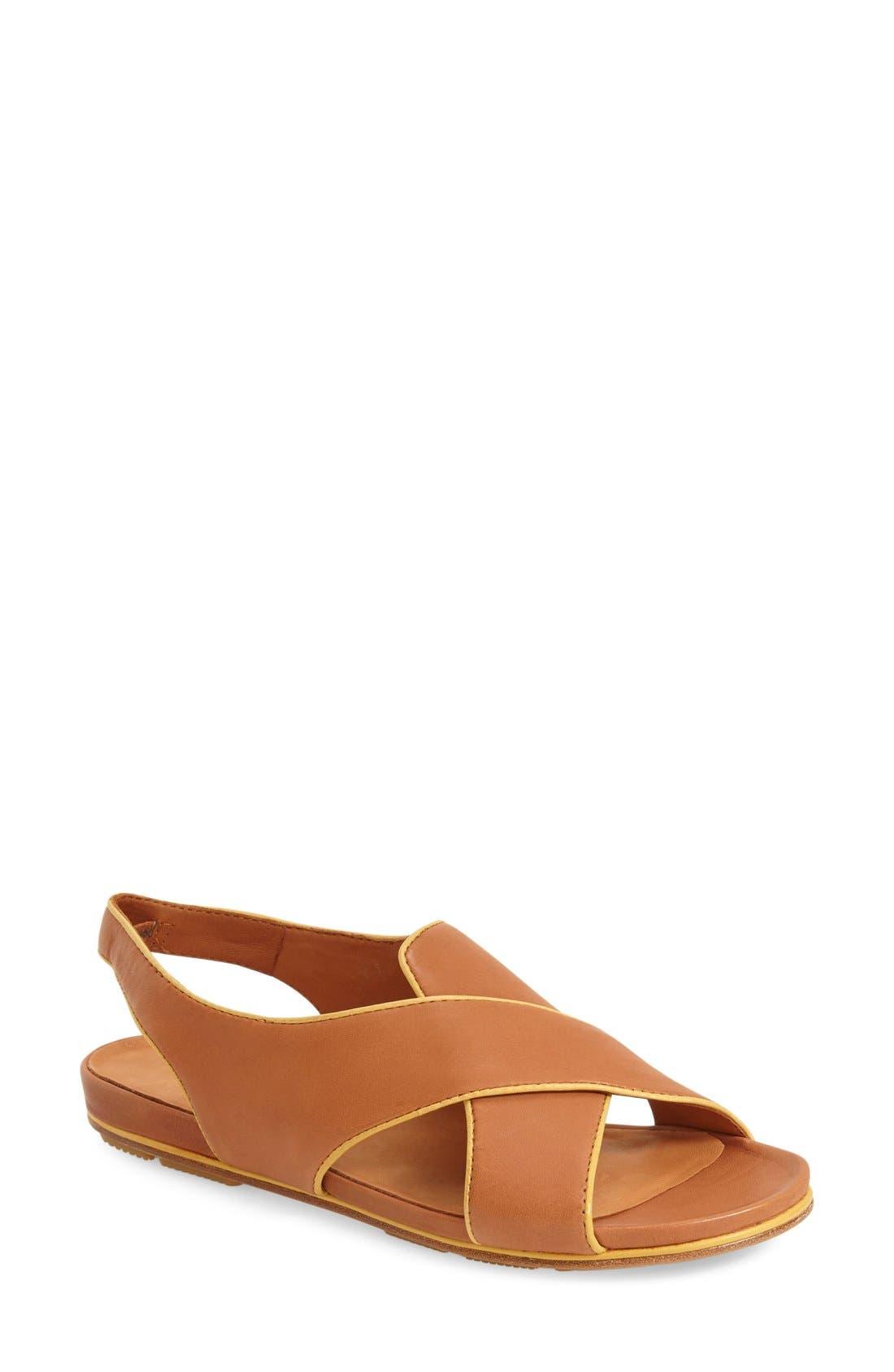 'Dallon' Crisscross Flat Sandal,                             Main thumbnail 1, color,                             Cognac Leather