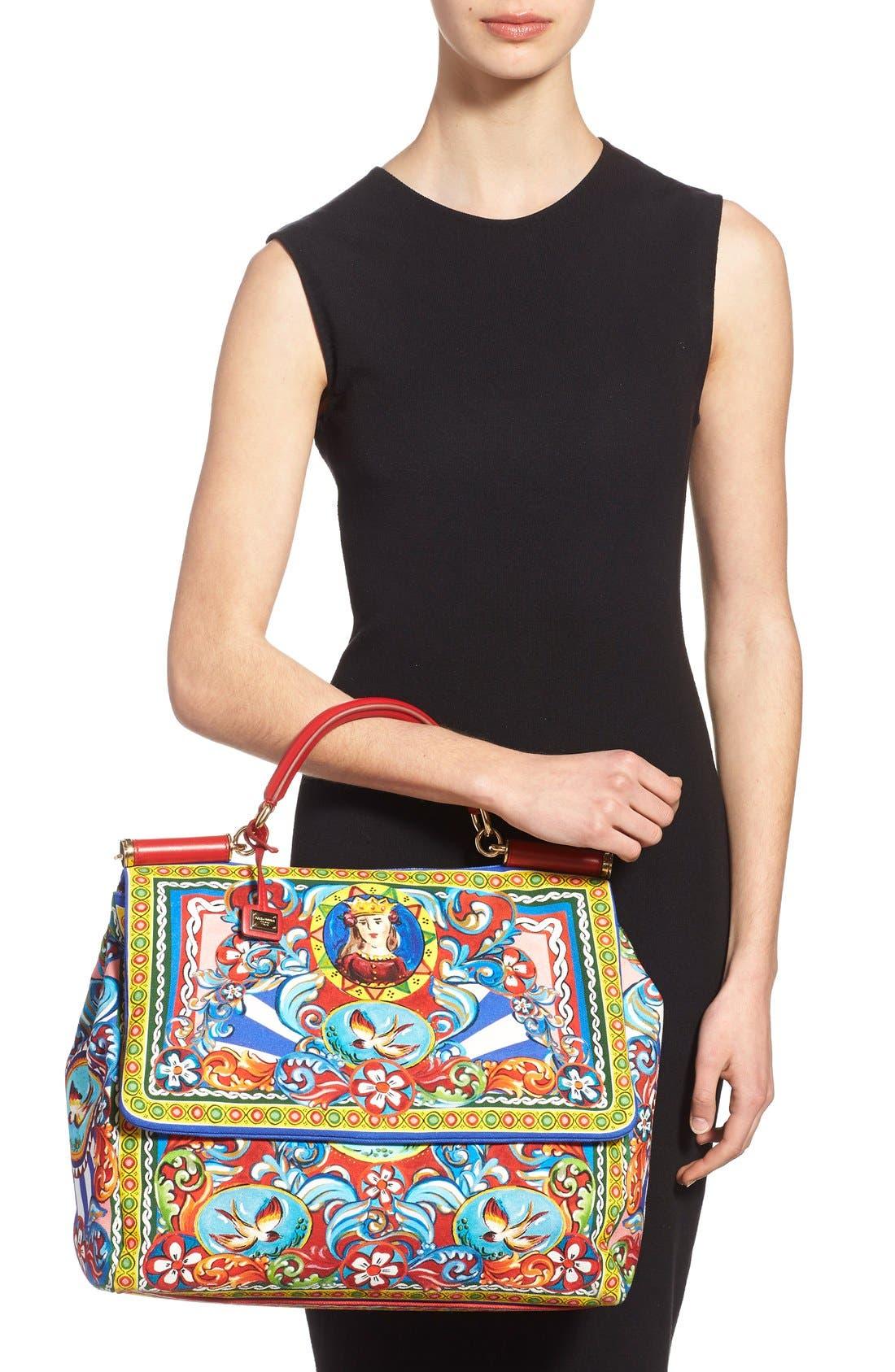 Alternate Image 2  - Dolce&Gabbana 'Large Miss Sicily' Carretto Print Top Handle Canvas Satchel