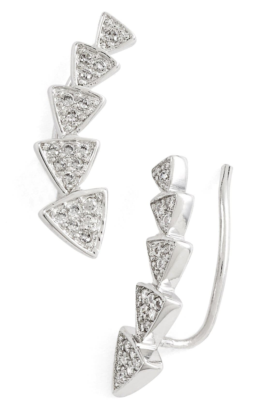 Triangle Ear Crawlers,                         Main,                         color, Silver/Clear