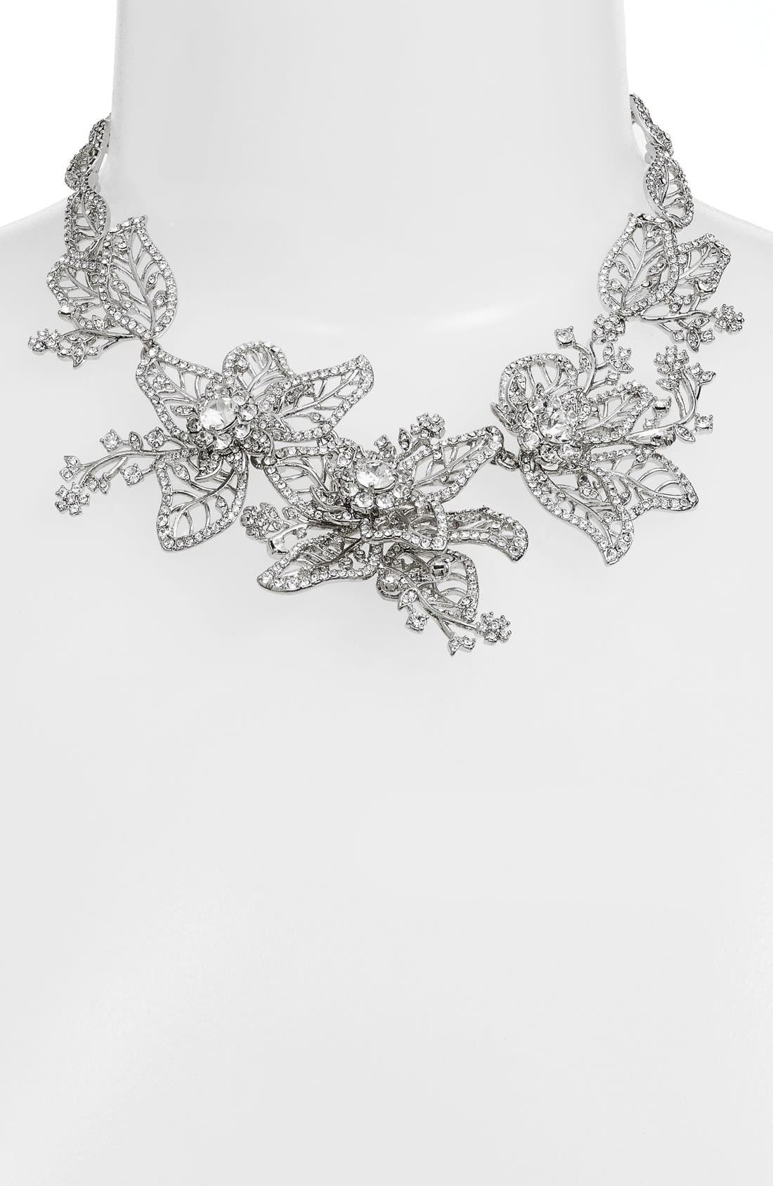 Alternate Image 2  - Marchesa Large Crystal Leaf Collar Necklace