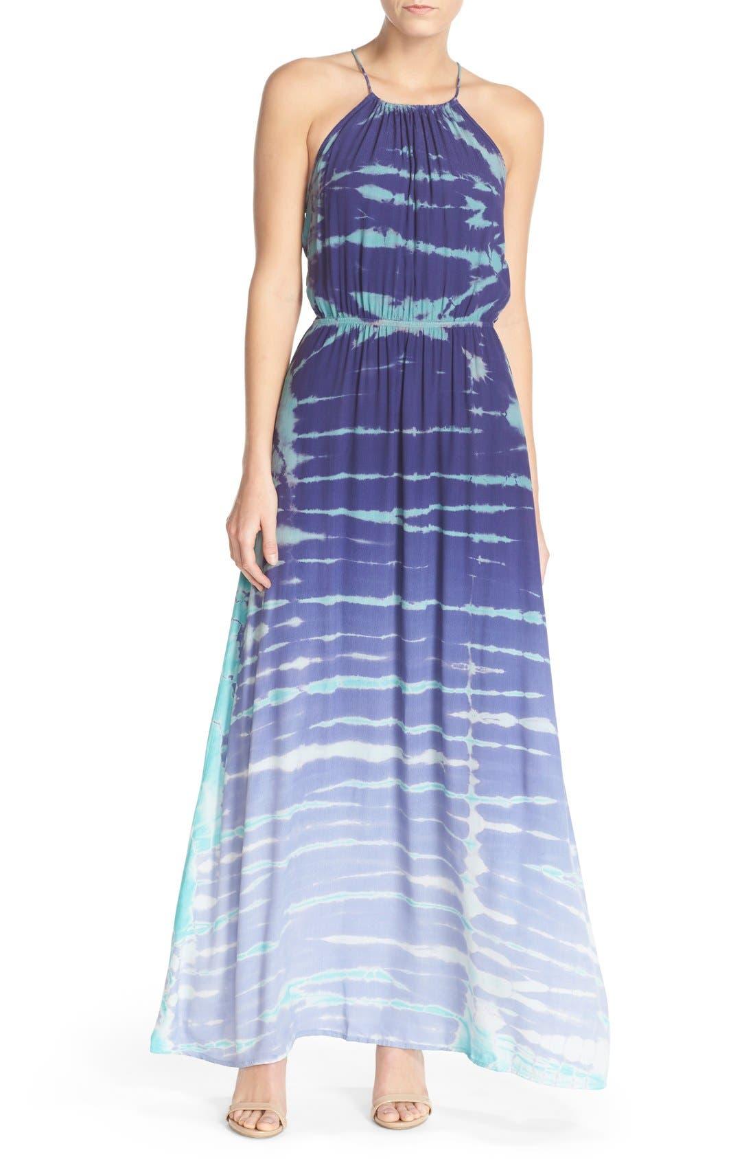 Tie Dye Crepe Maxi Dress,                             Main thumbnail 1, color,                             Navy Special