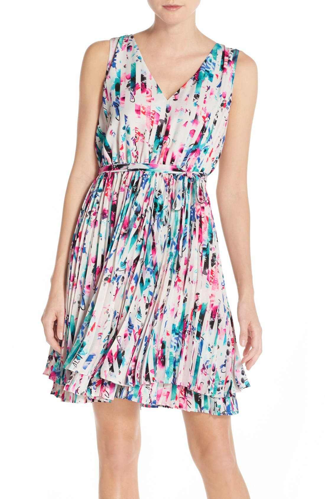Print Woven Fit & Flare Dress,                         Main,                         color, Red Striped Floral