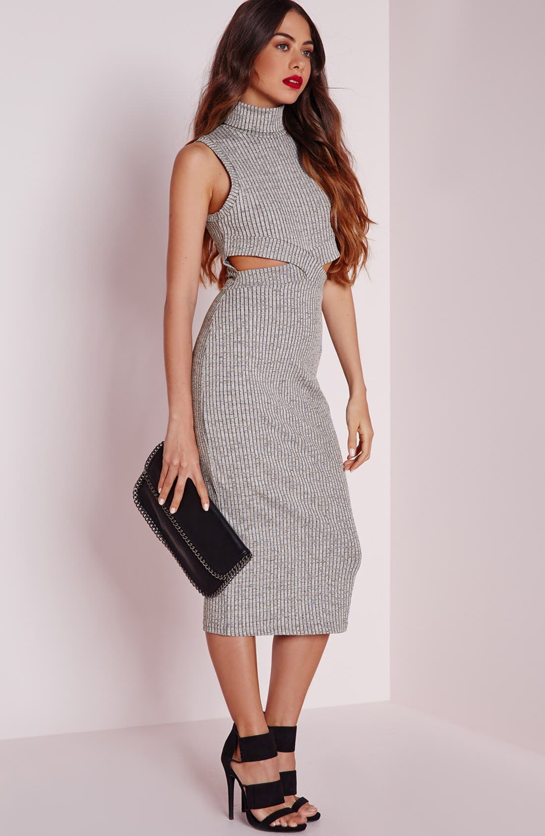 Alternate Image 7  - Missguided Funnel Neck Cutout Midi Dress