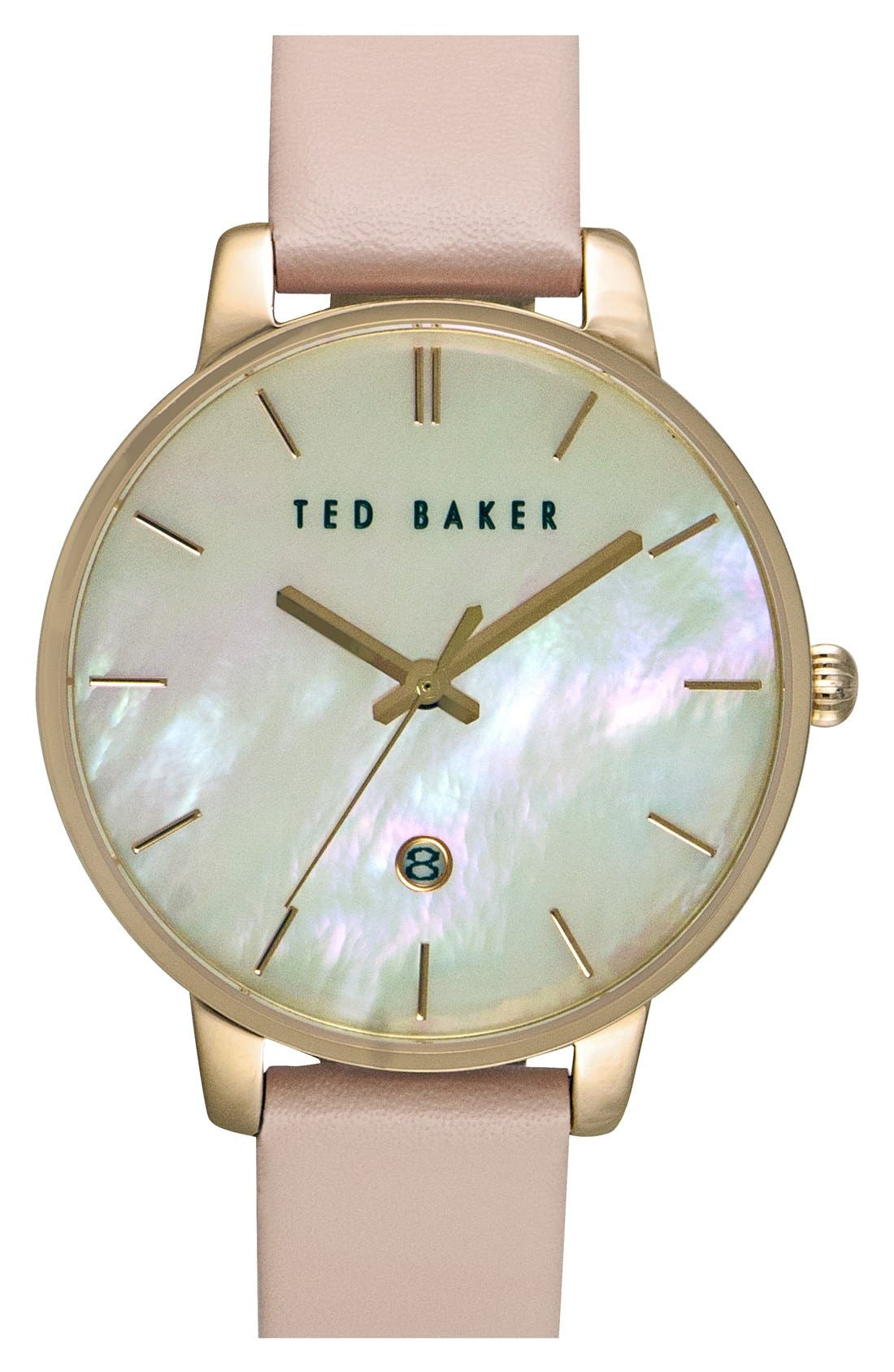 Alternate Image 1 Selected - Ted Baker London Leather Strap Watch, 40mm