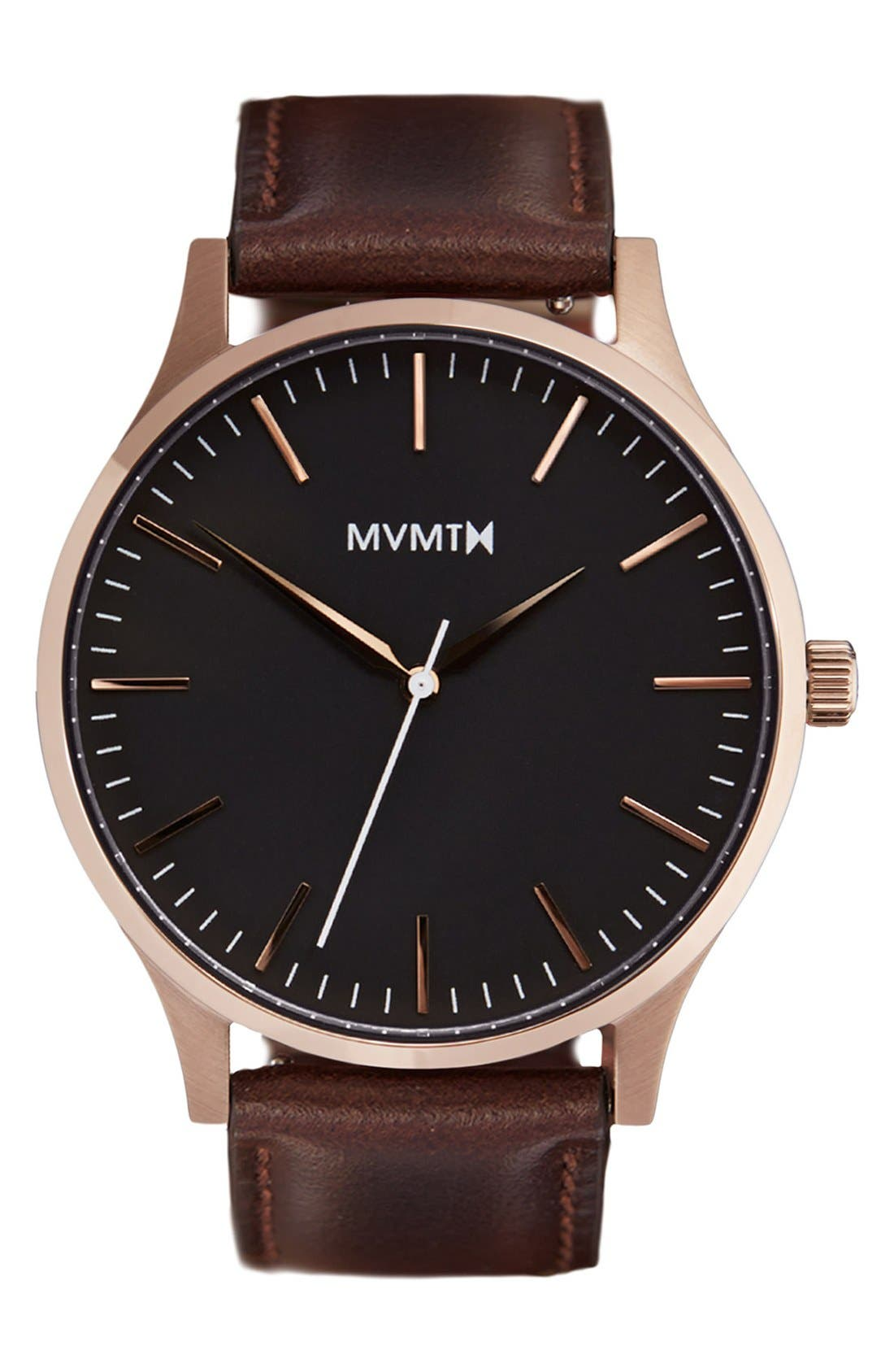 Leather Strap Watch, 40mm,                         Main,                         color, Brown/ Rose Gold/ Black