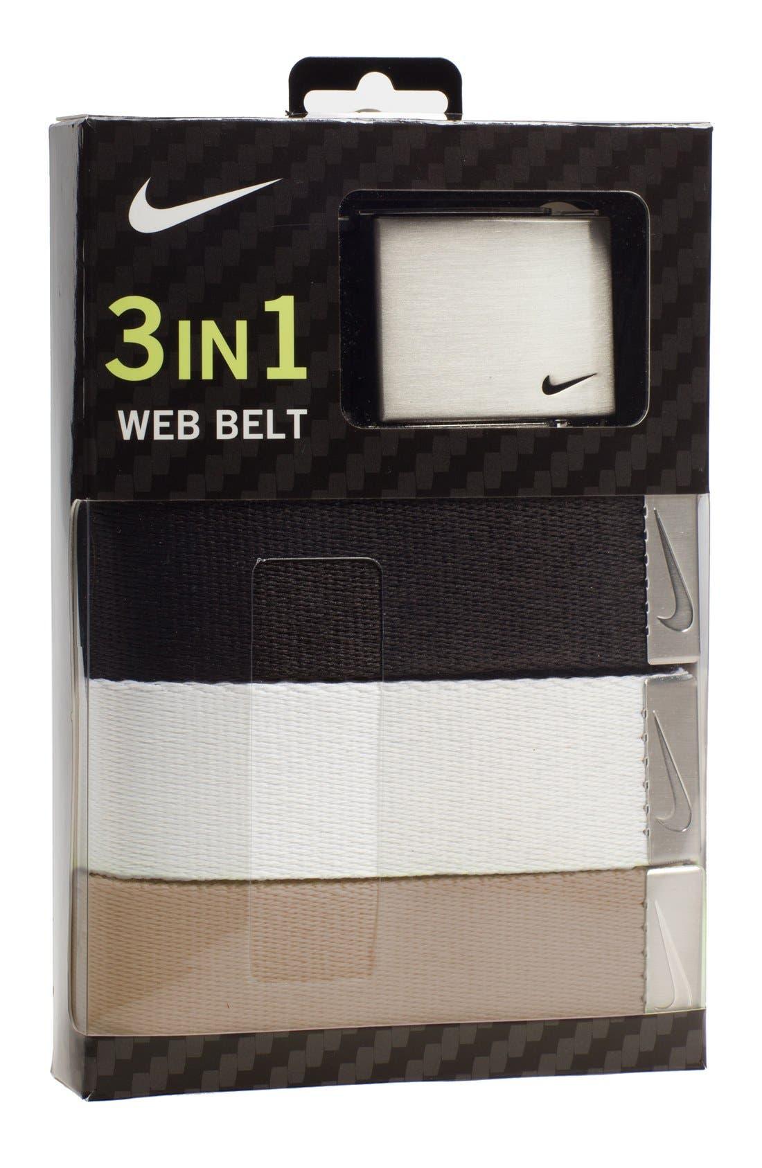 Web Belts,                             Main thumbnail 1, color,                             Black/ White/ Beige