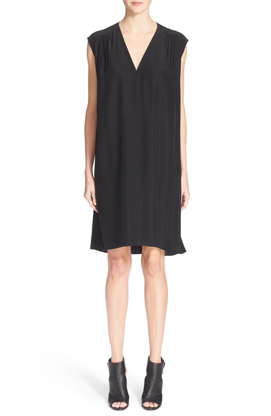 Main Image - Vince Smocked Cap Sleeve Silk Shift Dress