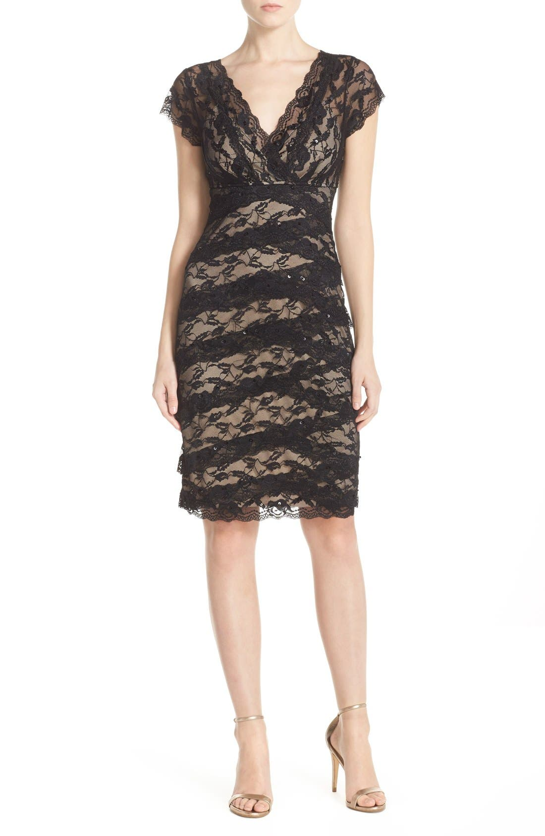 Alternate Image 1 Selected - JS Collections Tiered Beaded Lace Sheath Dress