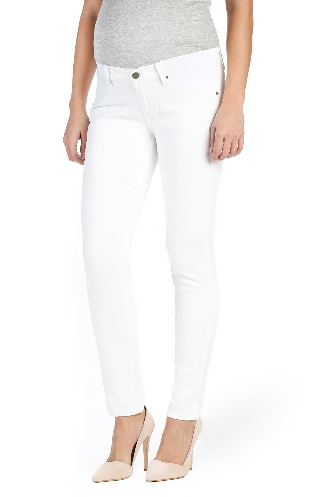 PAIGE 'Skyline' Ankle Peg Skinny Maternity Jeans (Optic White)