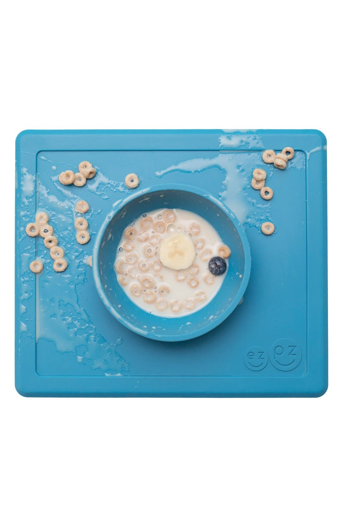 'Happy Bowl' Silicone Feeding Mat,                             Alternate thumbnail 4, color,                             Blue
