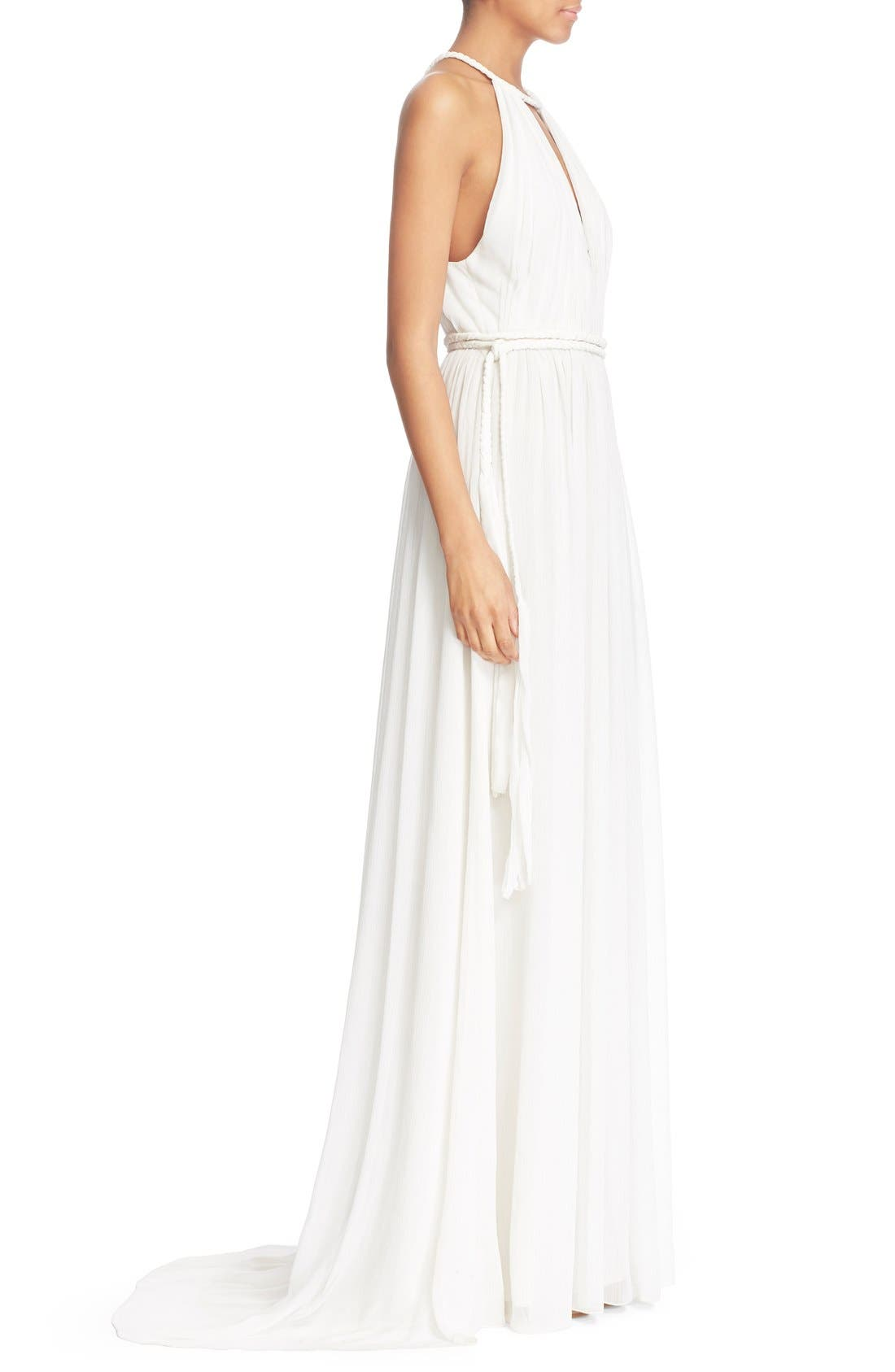 'Naomi' Pleated Goddess Gown,                             Alternate thumbnail 3, color,                             Off White