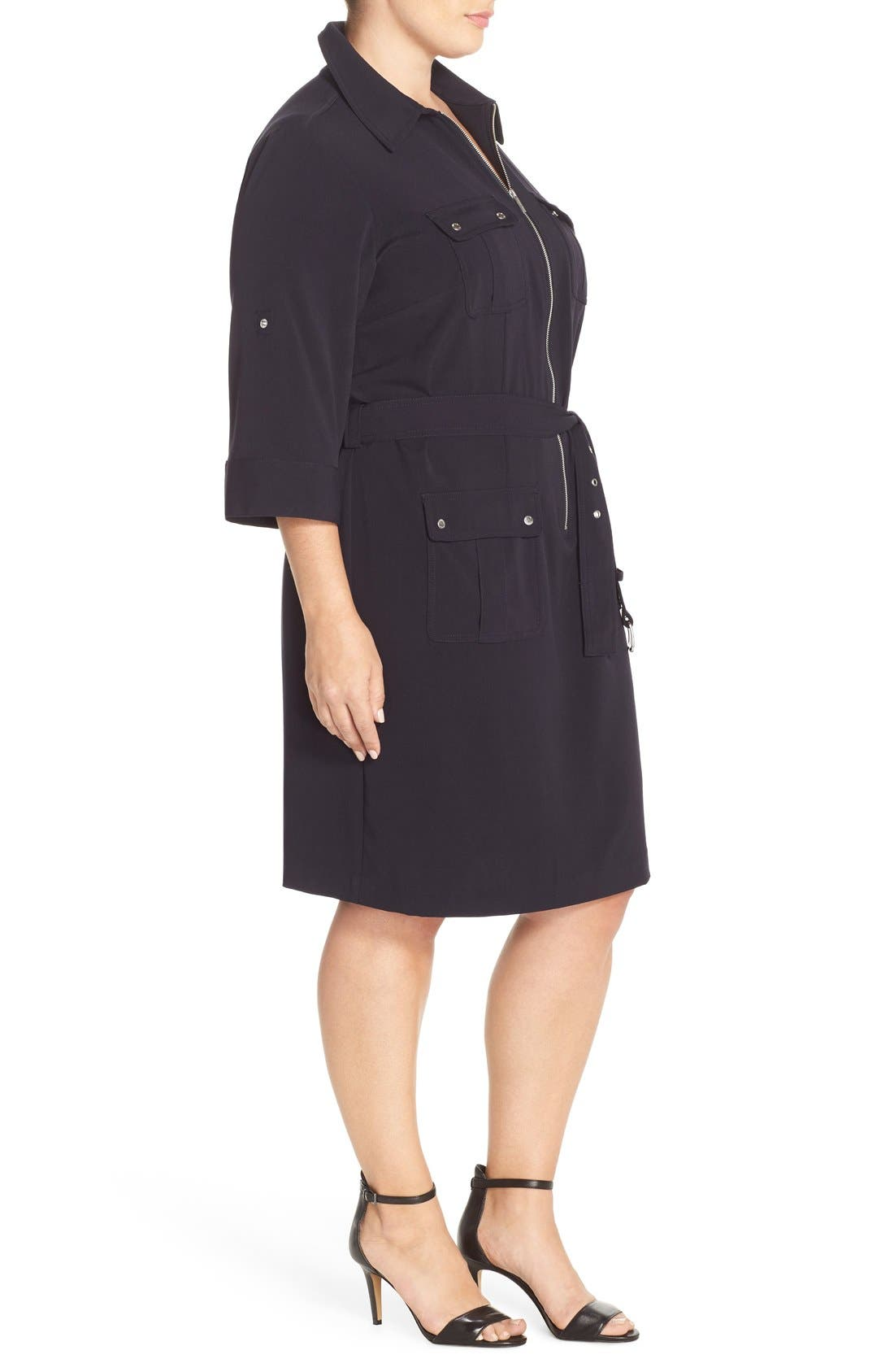 Alternate Image 3  - MICHAEL Michael Kors Belted Utility Shirtdress (Plus Size)