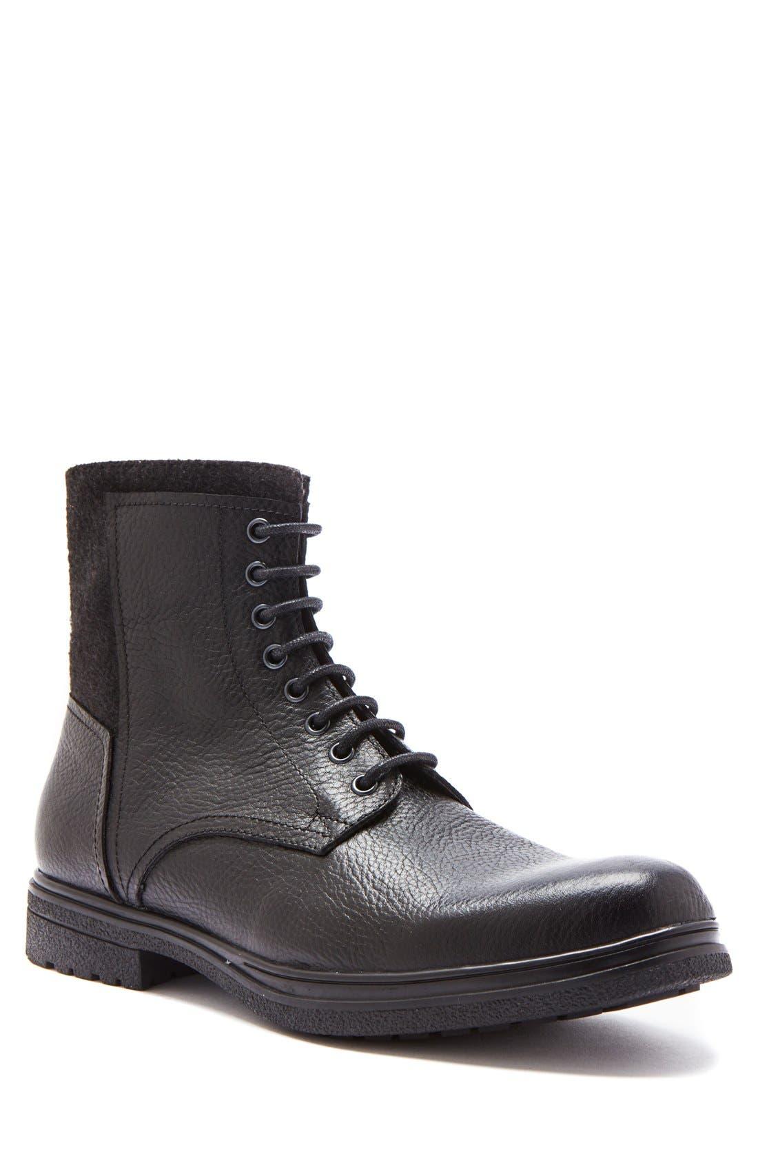 'Backoff' Waterproof Plain Toe Boot,                             Main thumbnail 1, color,                             Black Leather
