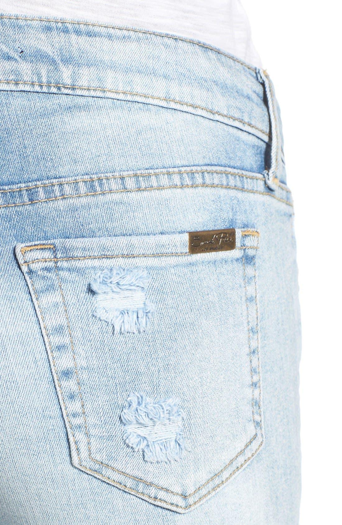Distressed Rolled Denim Shorts,                             Alternate thumbnail 4, color,                             Light Wash