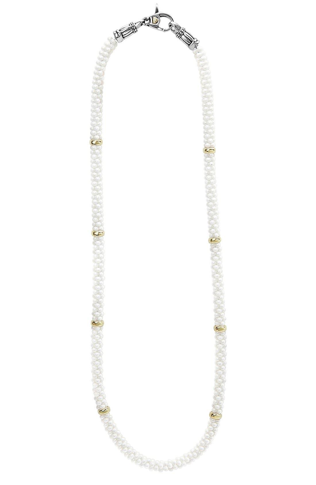 'White Caviar' 5mm Beaded Station Necklace,                         Main,                         color, White Caviar