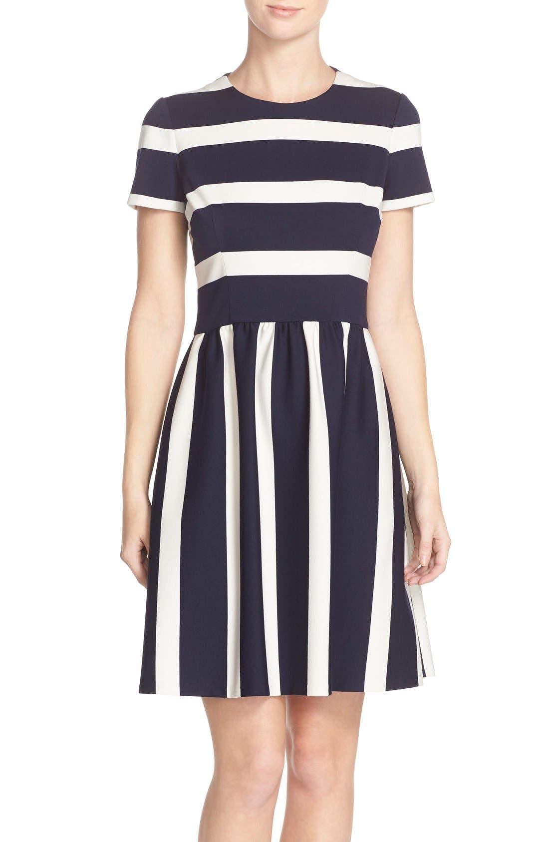 Main Image - Eliza J Stripe Knit Fit & Flare Dress (Regular & Petite)