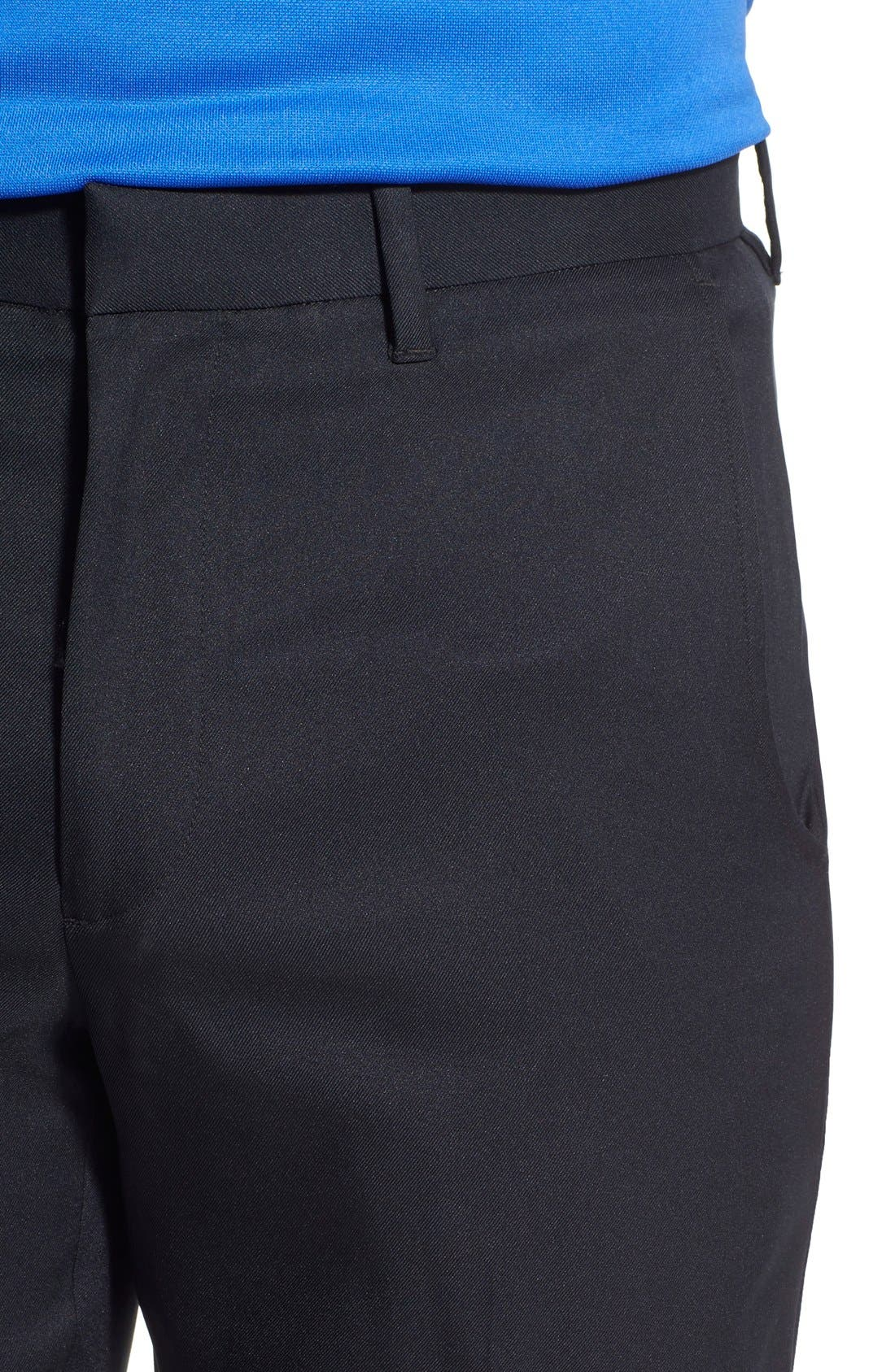 'Tech' Flat Front Wrinkle Free Golf Pants,                             Alternate thumbnail 5, color,                             Black