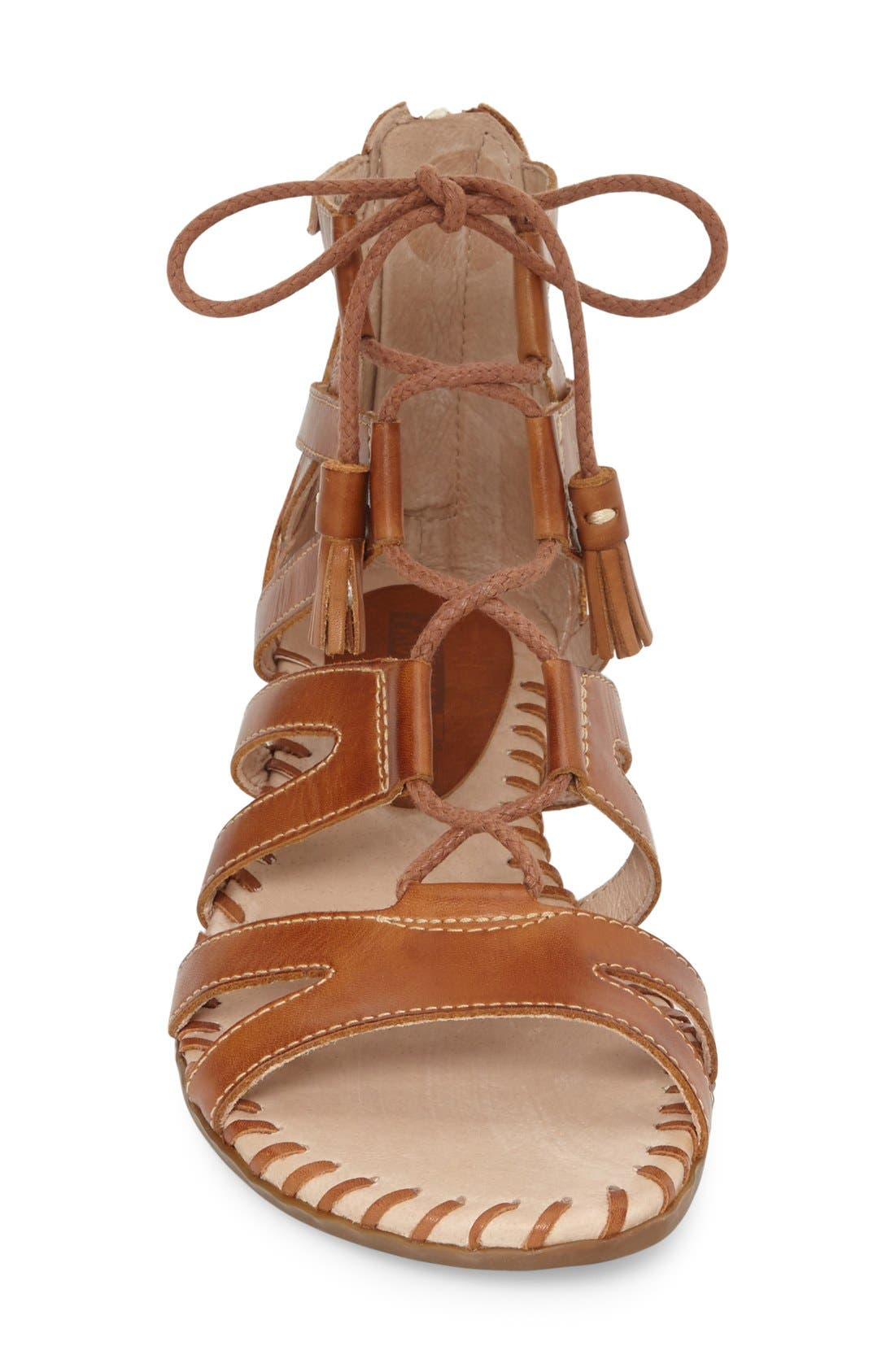 'Alcudia' Lace-Up Sandal,                             Alternate thumbnail 3, color,                             Brandy/ Brandy Leather