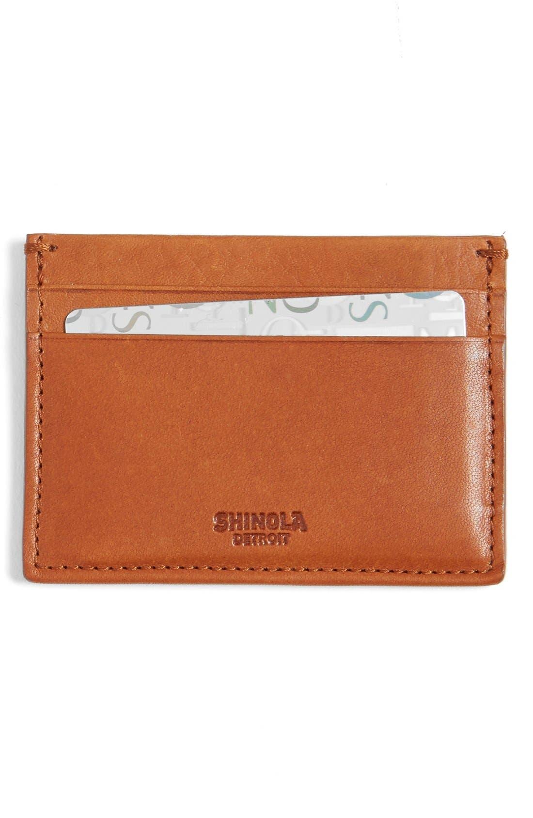 Leather Card Case,                             Main thumbnail 1, color,                             Bourbon