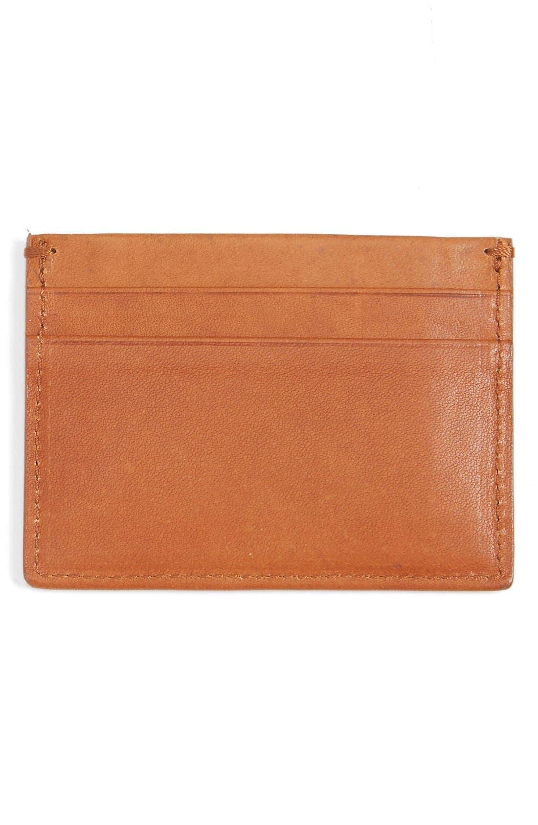Leather Card Case,                             Alternate thumbnail 2, color,                             Bourbon