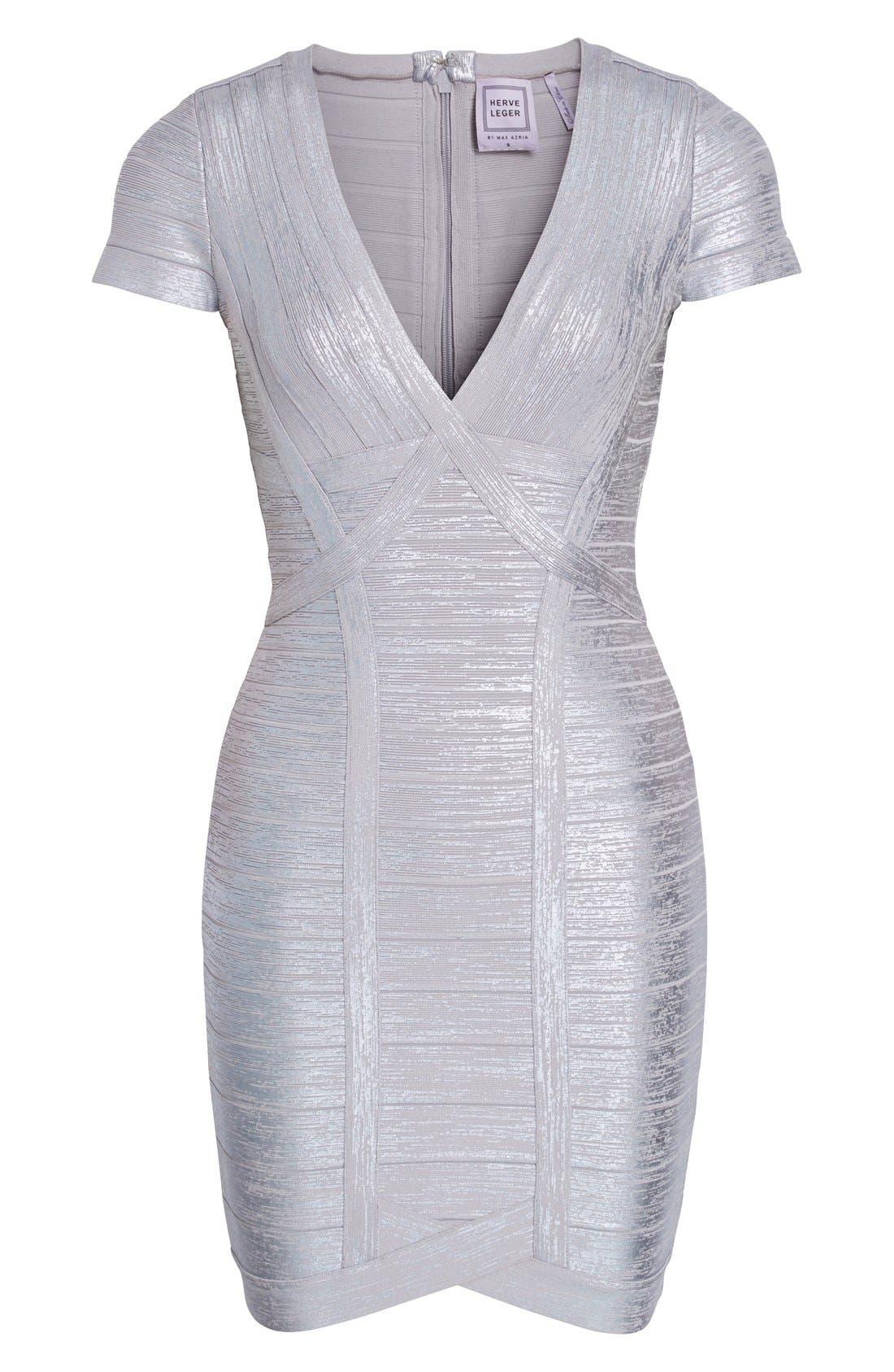 Alternate Image 4  - Herve Leger 'Klaudia' Woodgrain Metallic Foil Dress