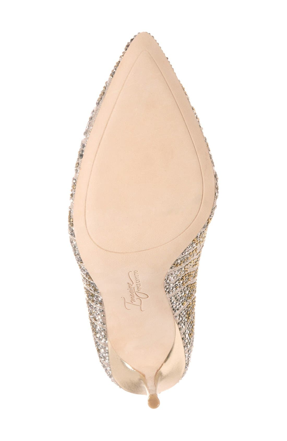 Imagine Vince Camuto 'Olivier' Pointy Toe Pump,                             Alternate thumbnail 4, color,                             Soft Gold