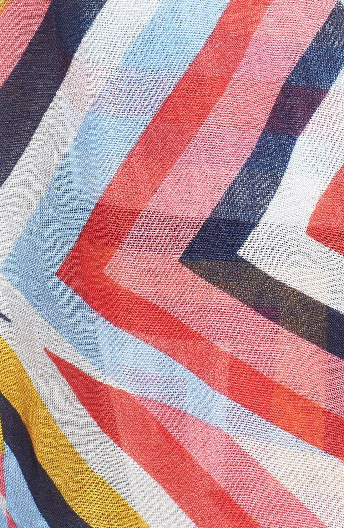 Alternate Image 3  - Tory Burch Stripe T-Print Linen Blend Scarf