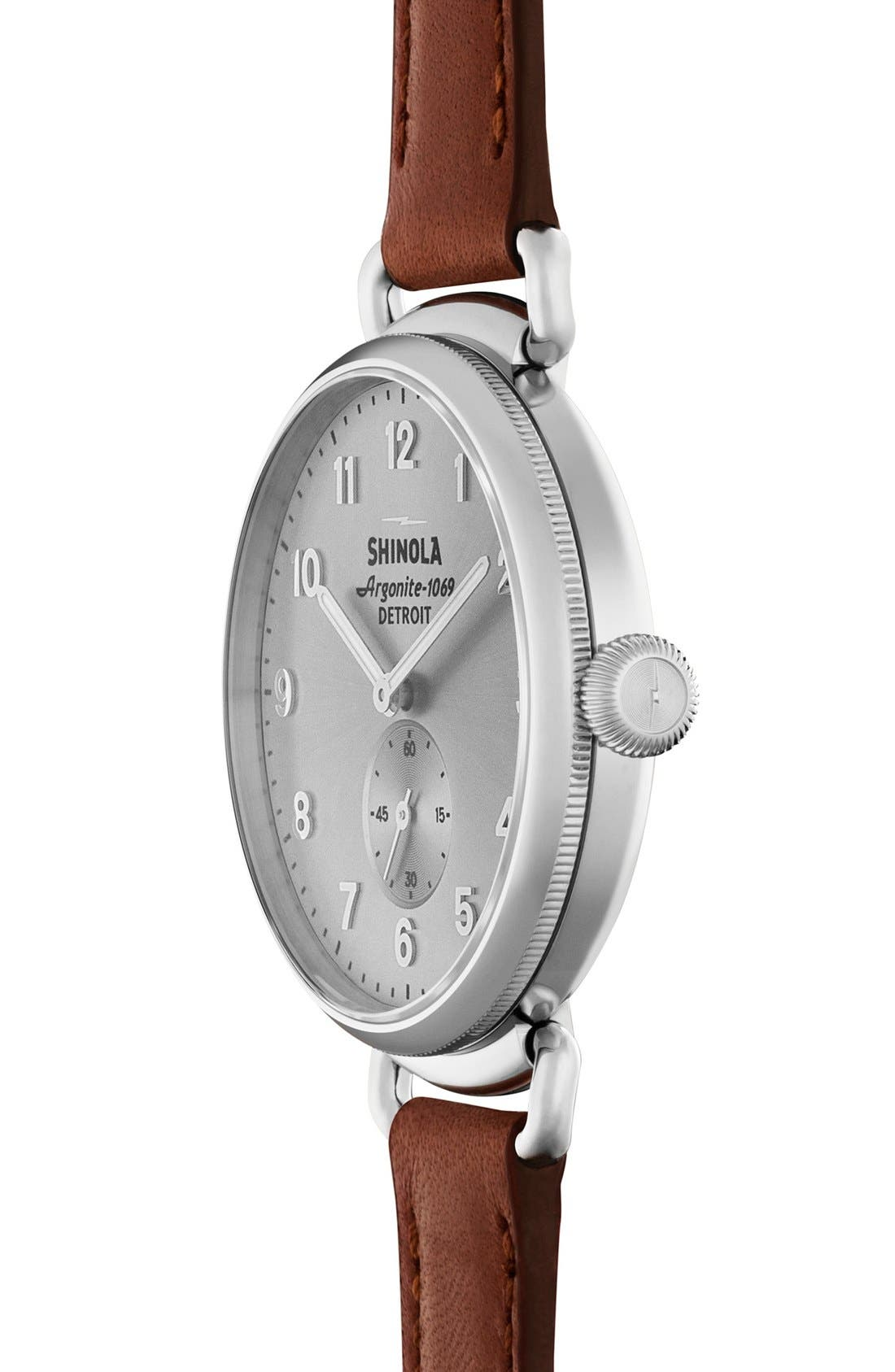 The Canfield Leather Strap Watch, 38mm,                             Alternate thumbnail 3, color,                             Dark Cognac/ Silver