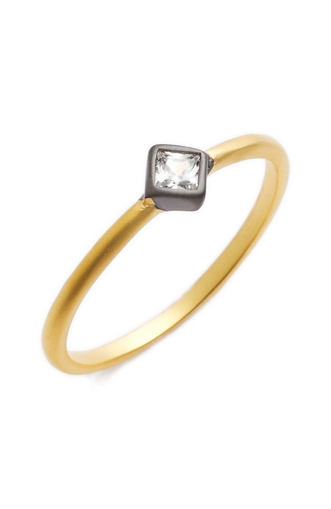 'Double Helix' Stackable Bezel Ring,                         Main,                         color, Gold/ Black