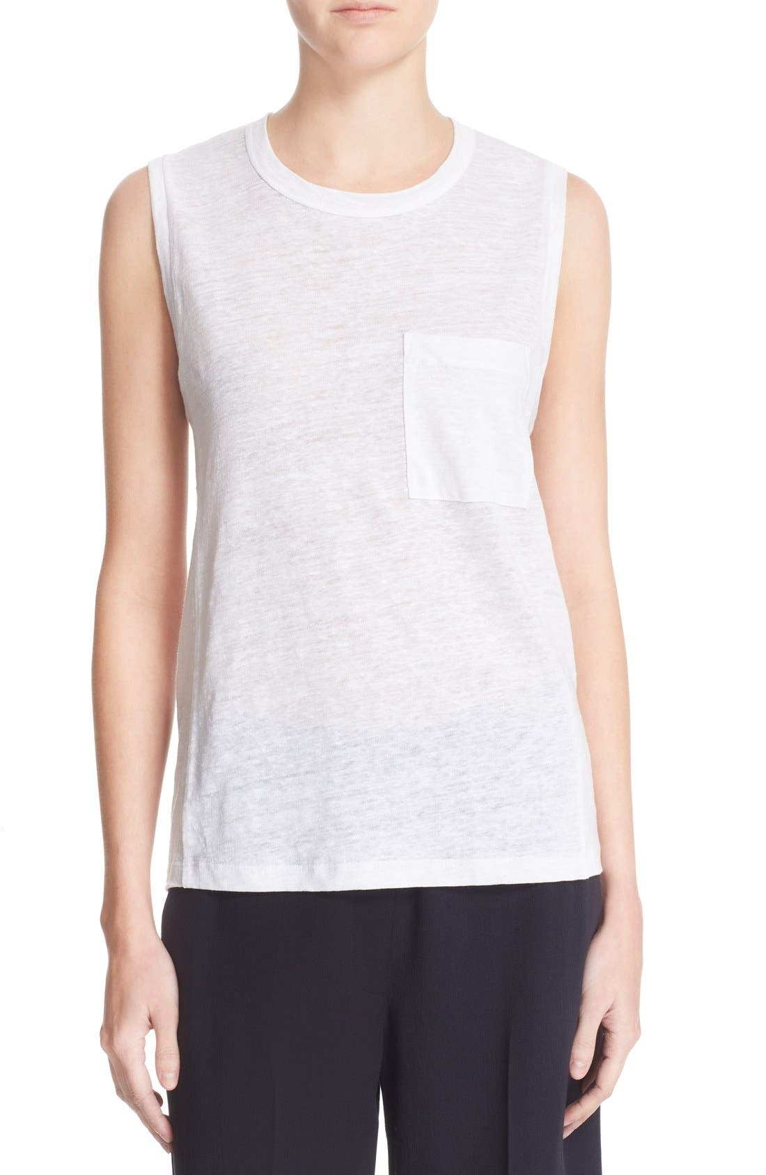 Sean Linen Muscle Tee,                         Main,                         color, White