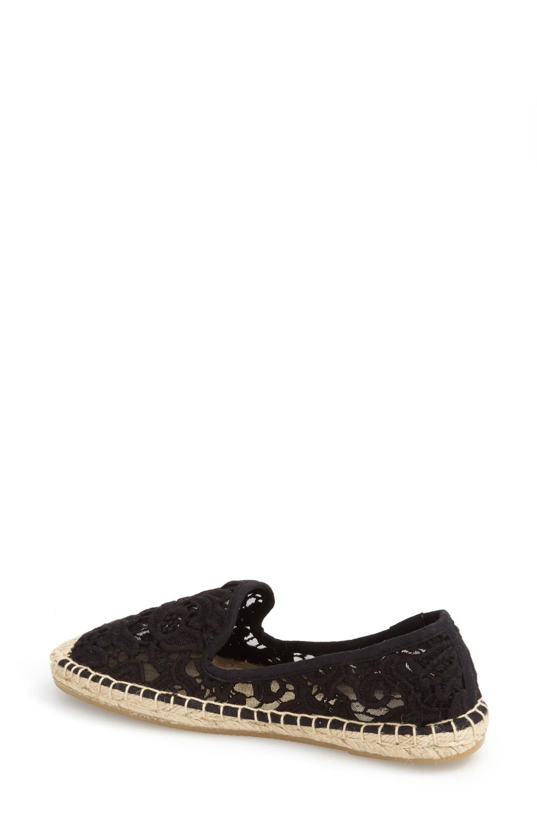 Lace Espadrille Slip-On,                             Alternate thumbnail 2, color,                             Black
