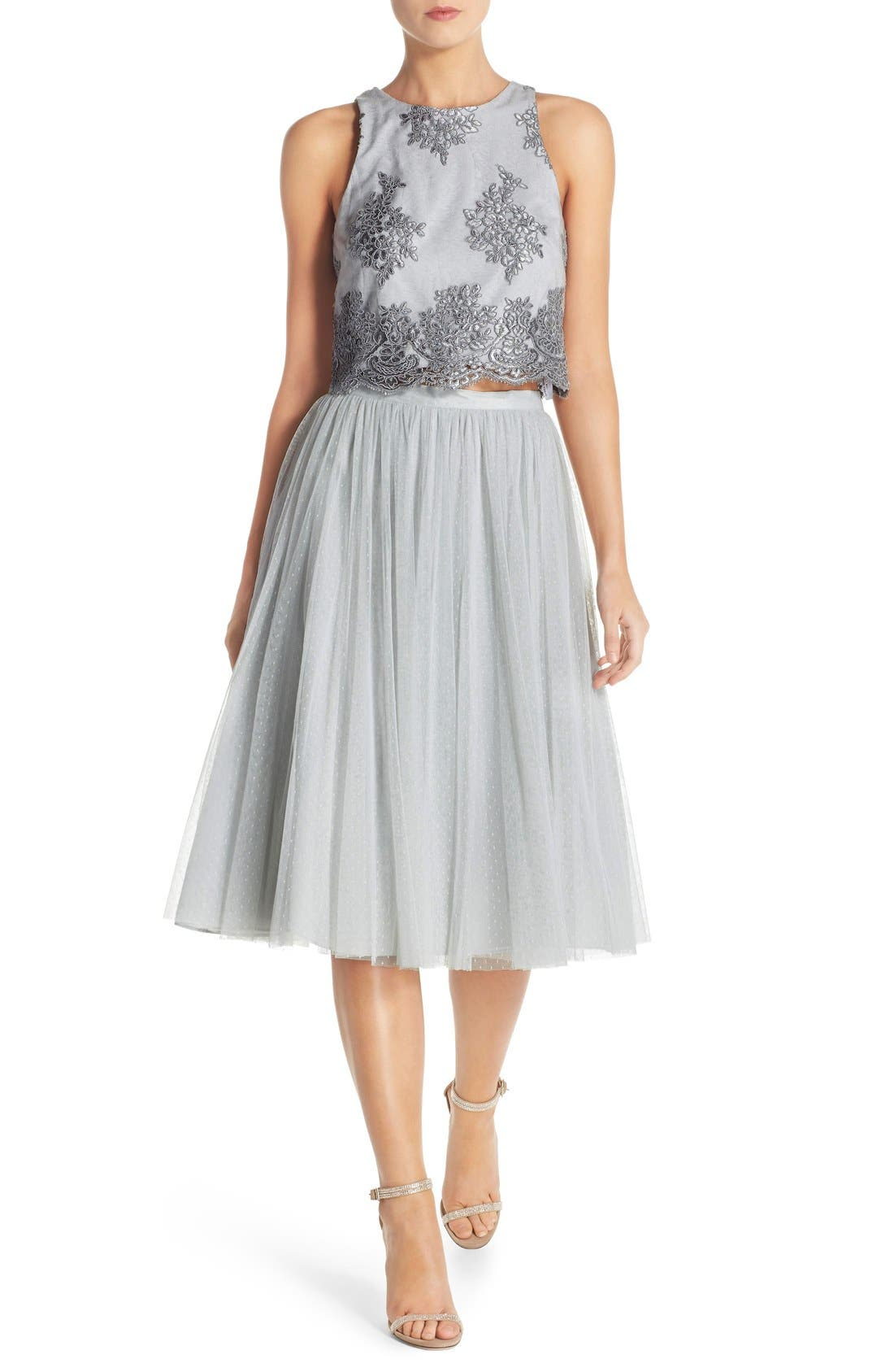 Main Image - Donna Morgan 'Beatrix' Lace & Dotted Tulle Two-Piece Dress