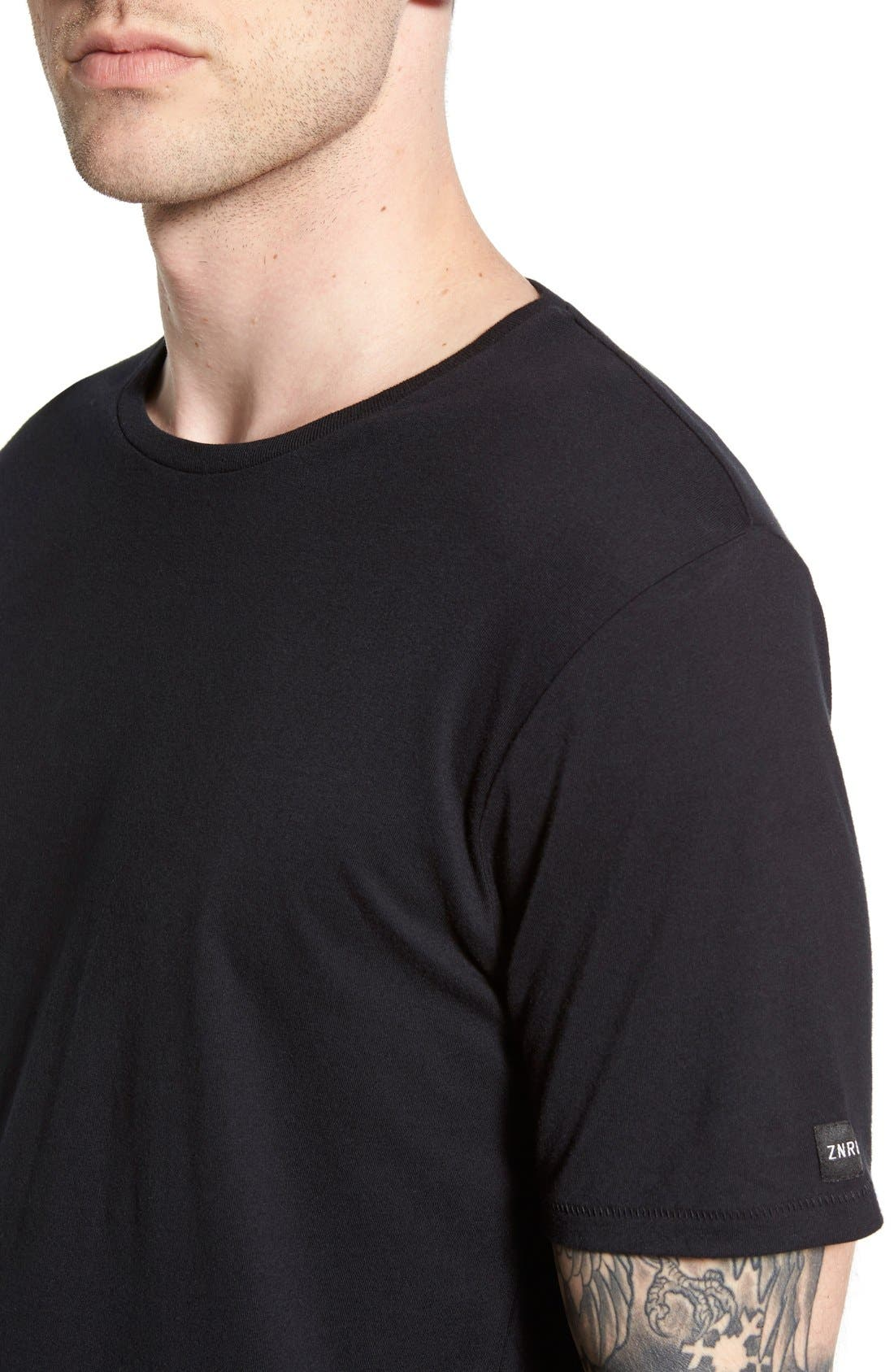 'Flintlock' Longline Crewneck T-Shirt,                             Alternate thumbnail 4, color,                             Black