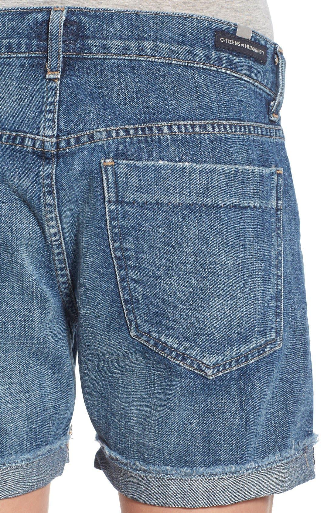 'Skyler' Cutoff Denim Shorts,                             Alternate thumbnail 4, color,                             Halo