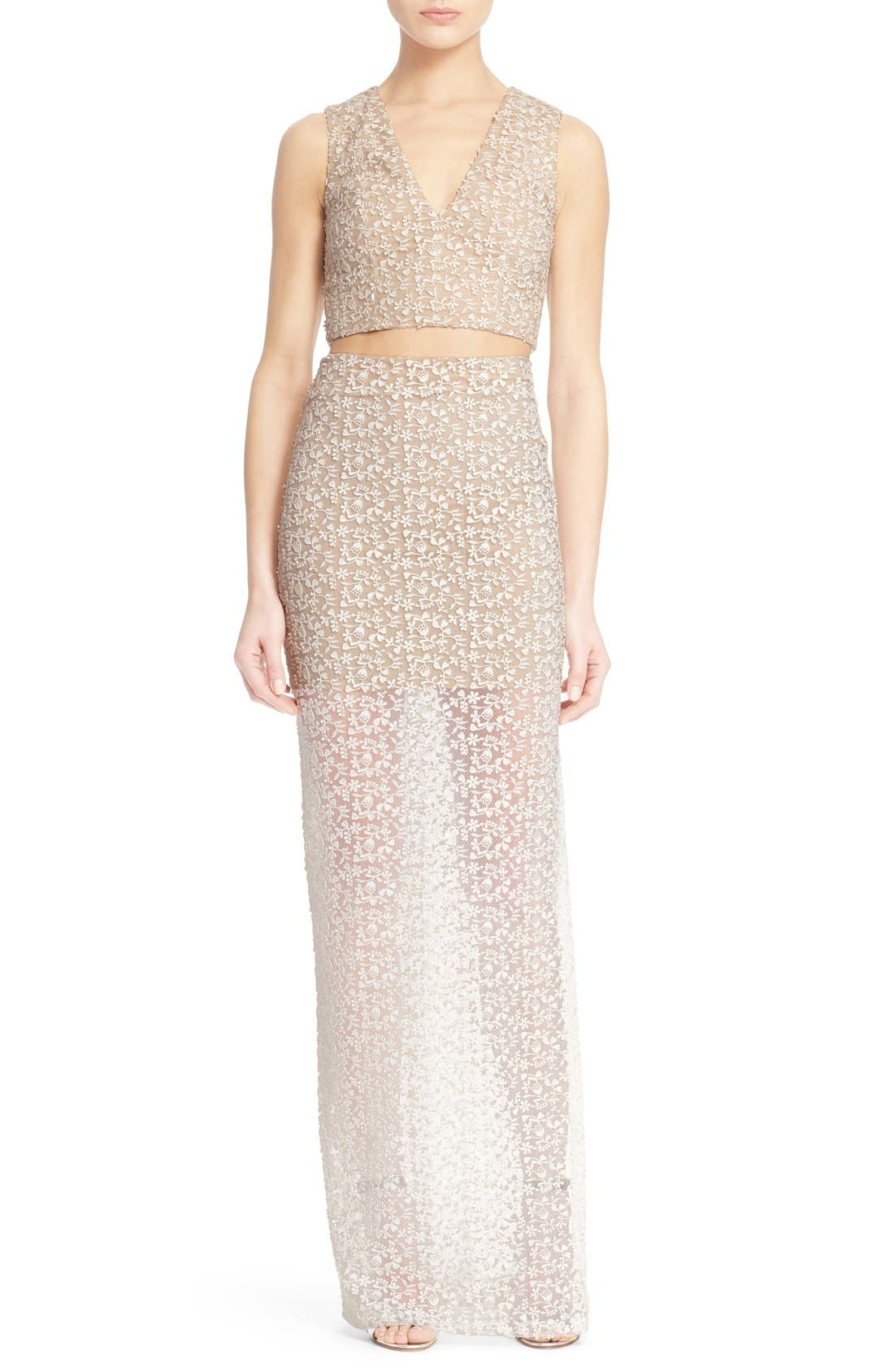 Alternate Image 2  - Alice + Olivia 'Jaya' Illusion Lace V-Neck Crop Top