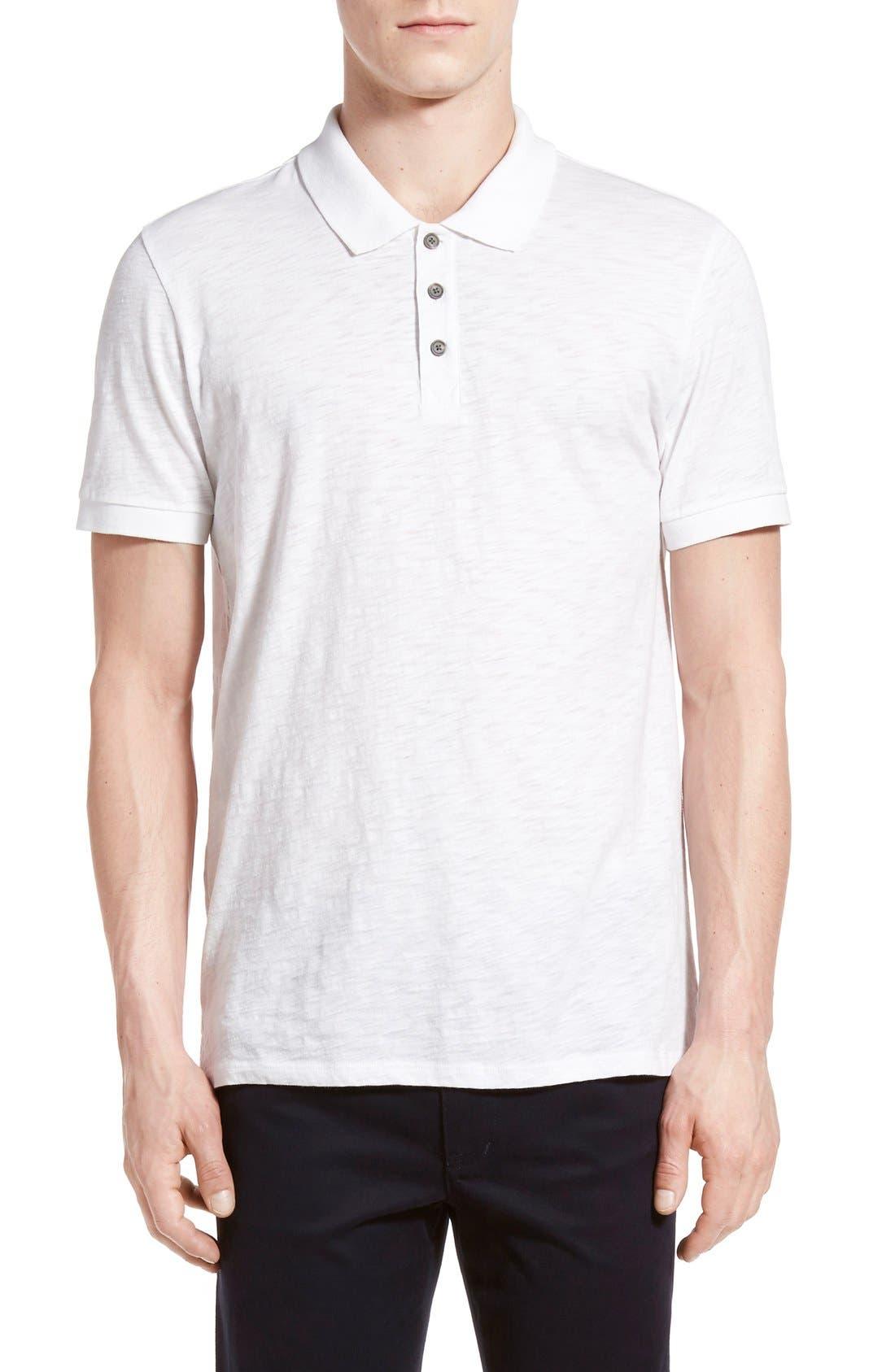 Slub Cotton Polo,                         Main,                         color, White