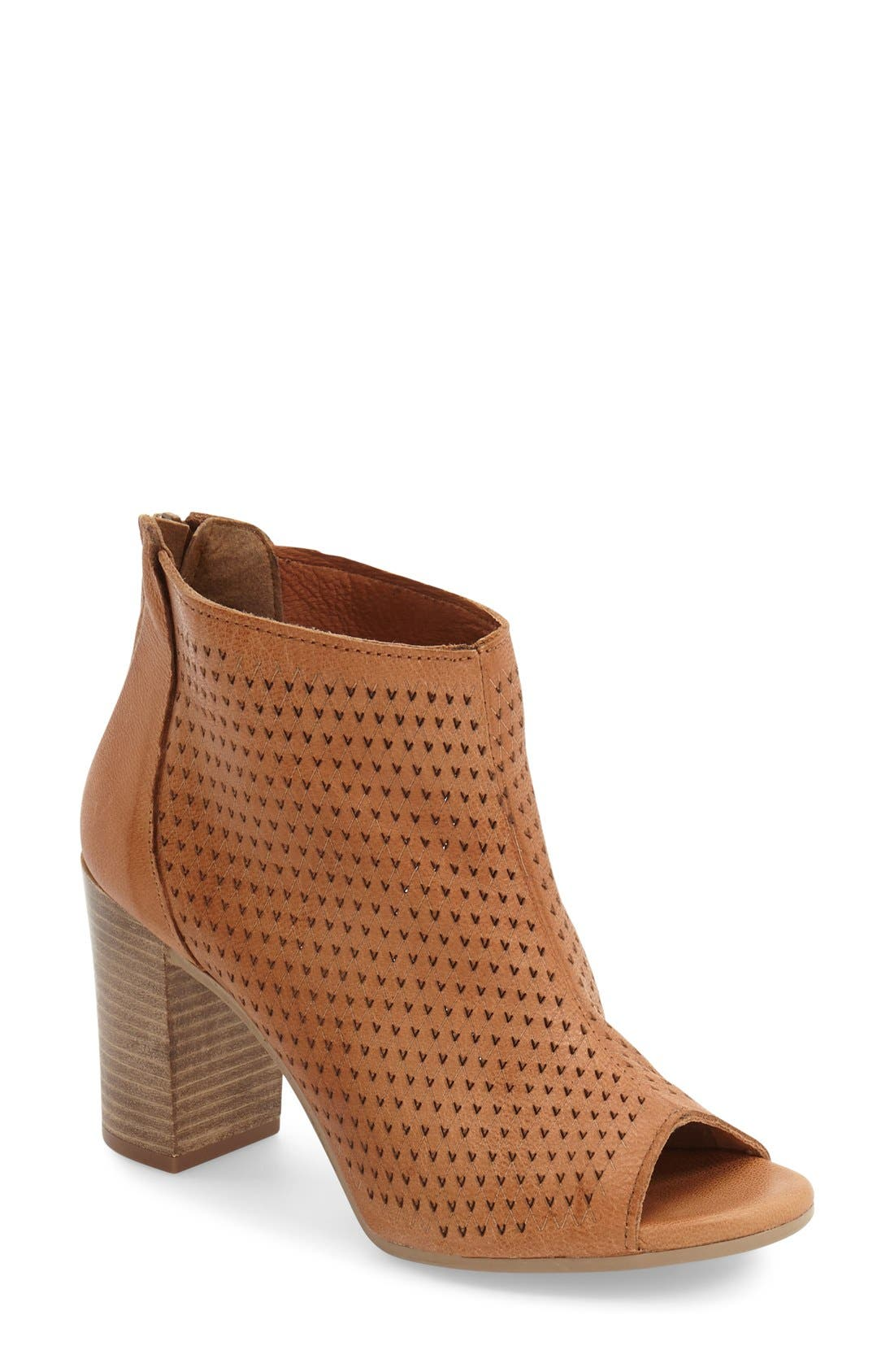 'Nina' Open Toe Bootie,                             Main thumbnail 1, color,                             Luggage Leather
