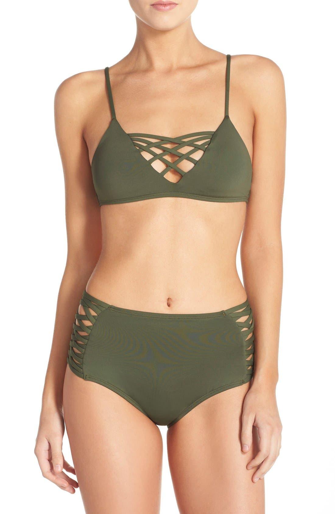 Tigress Classic High Waist Bikini Bottoms,                             Alternate thumbnail 4, color,                             Fern