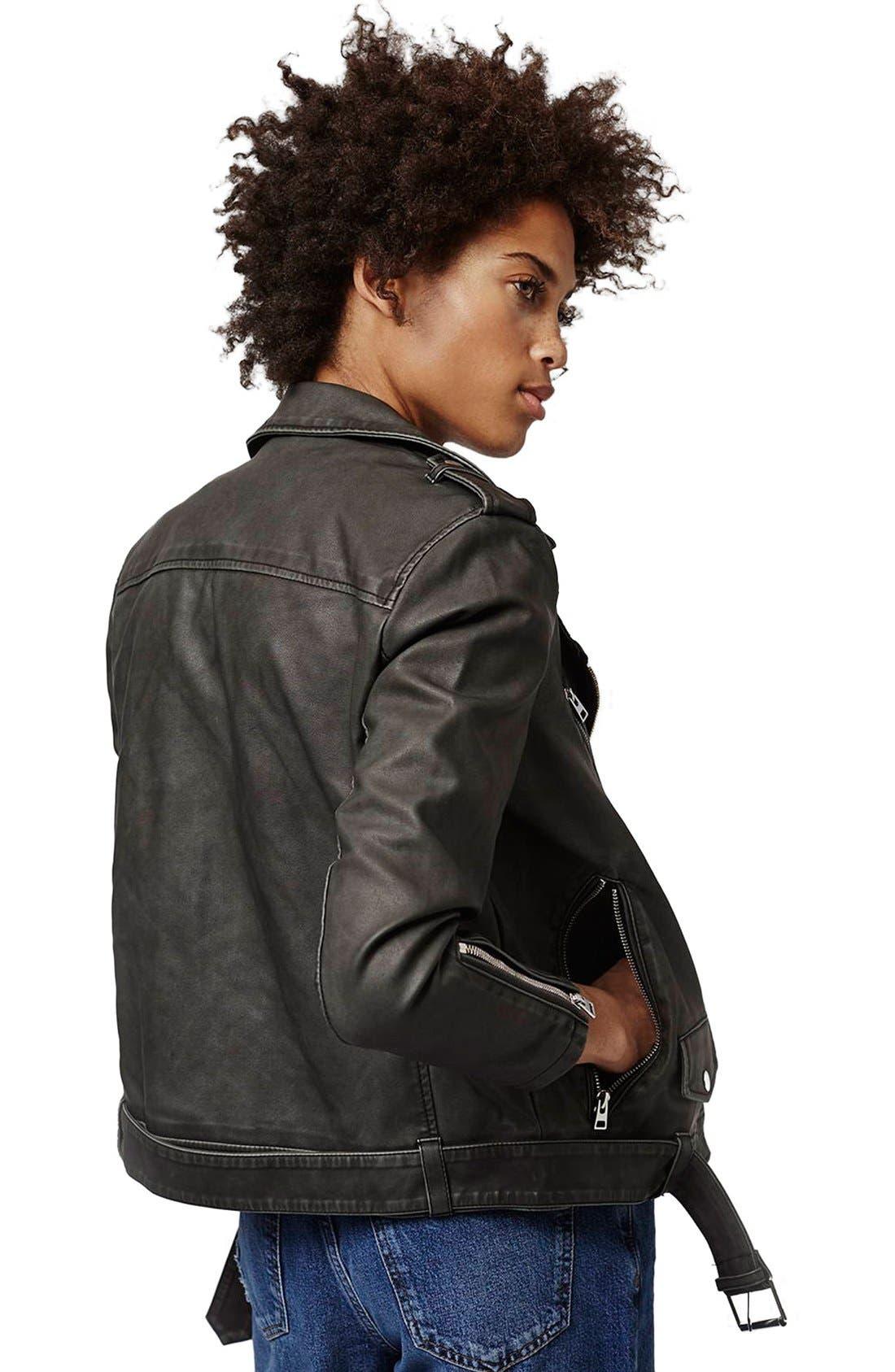 'Mahoney' Faux Leather Biker Jacket,                             Alternate thumbnail 3, color,                             Black