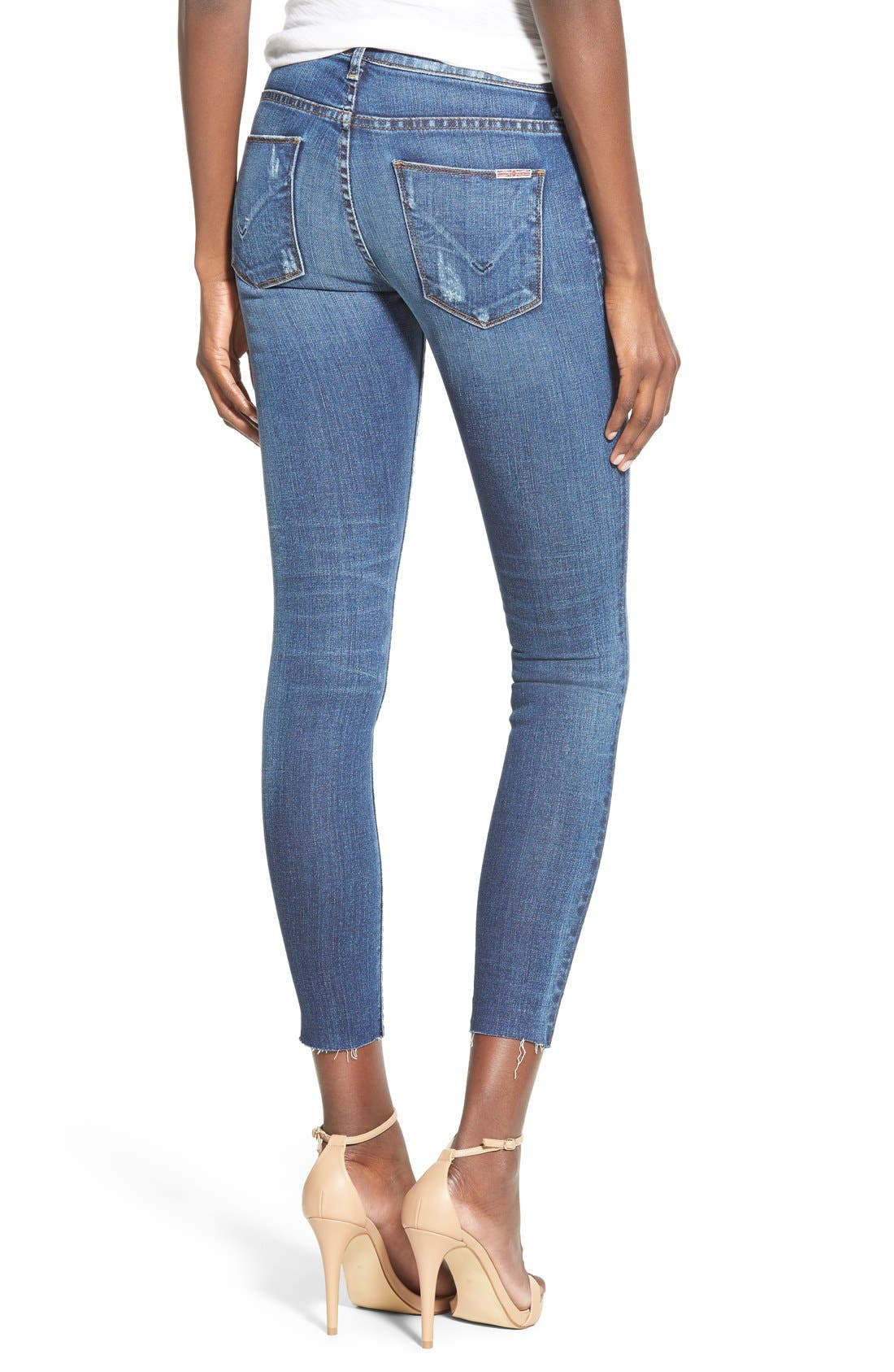Alternate Image 2  - Hudson Jeans 'Krista' Raw Hem Ankle Super Skinny Jeans (Point Break)