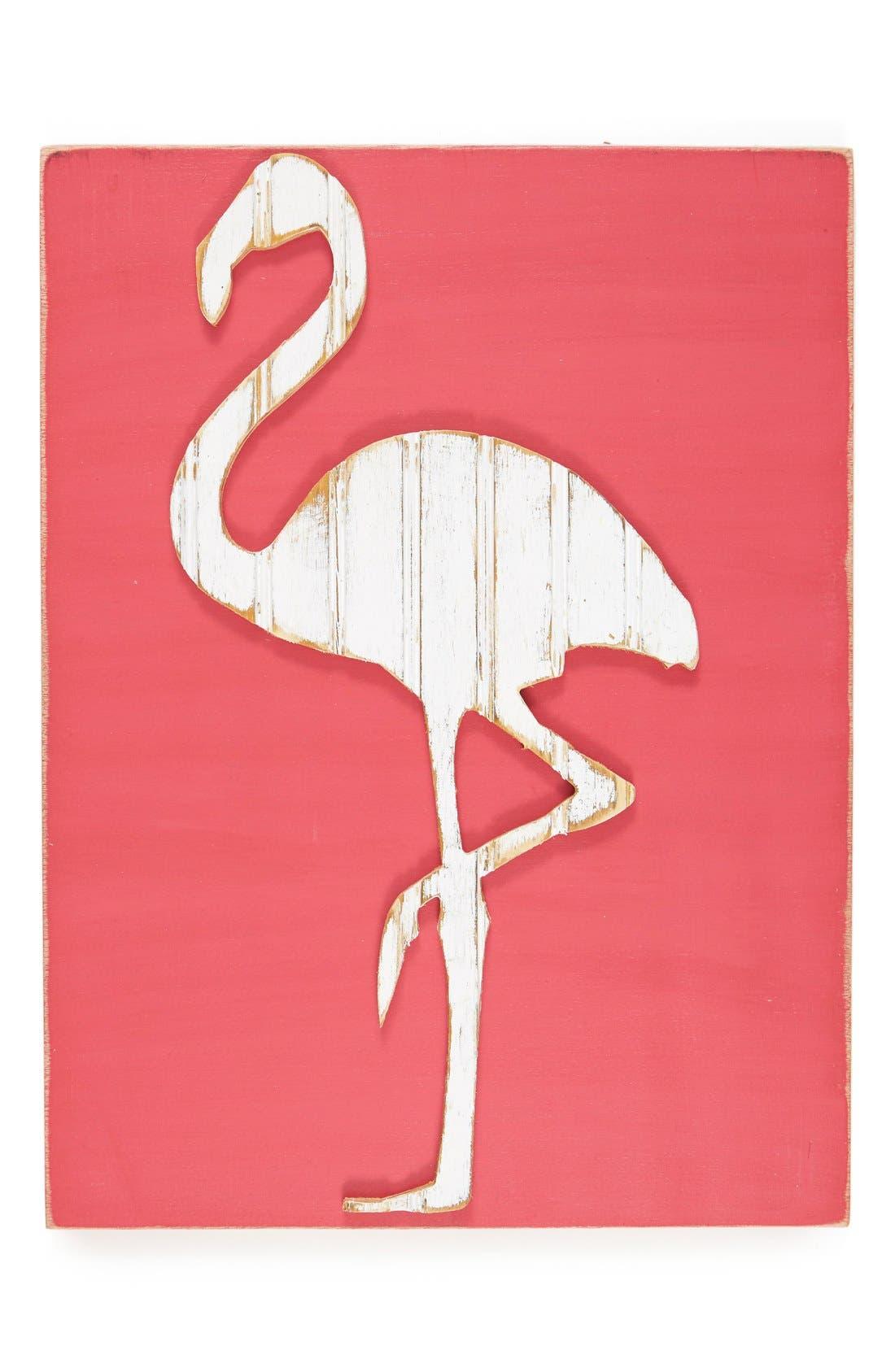 Main Image - grace graffiti 'Flamingo' Distressed Wood Wall Art